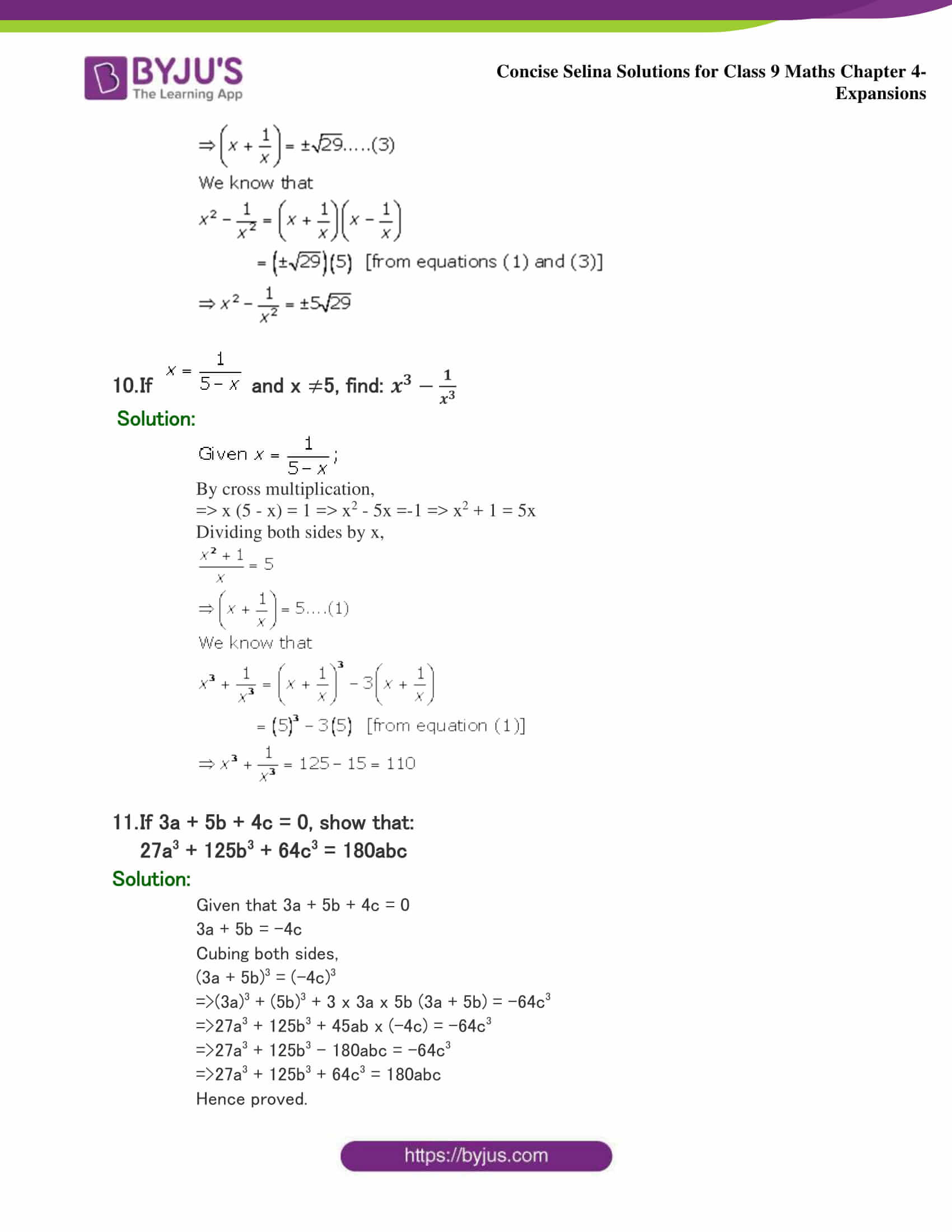 Selina Solutions Class 9 Maths Chapter 4 Expansions part 37