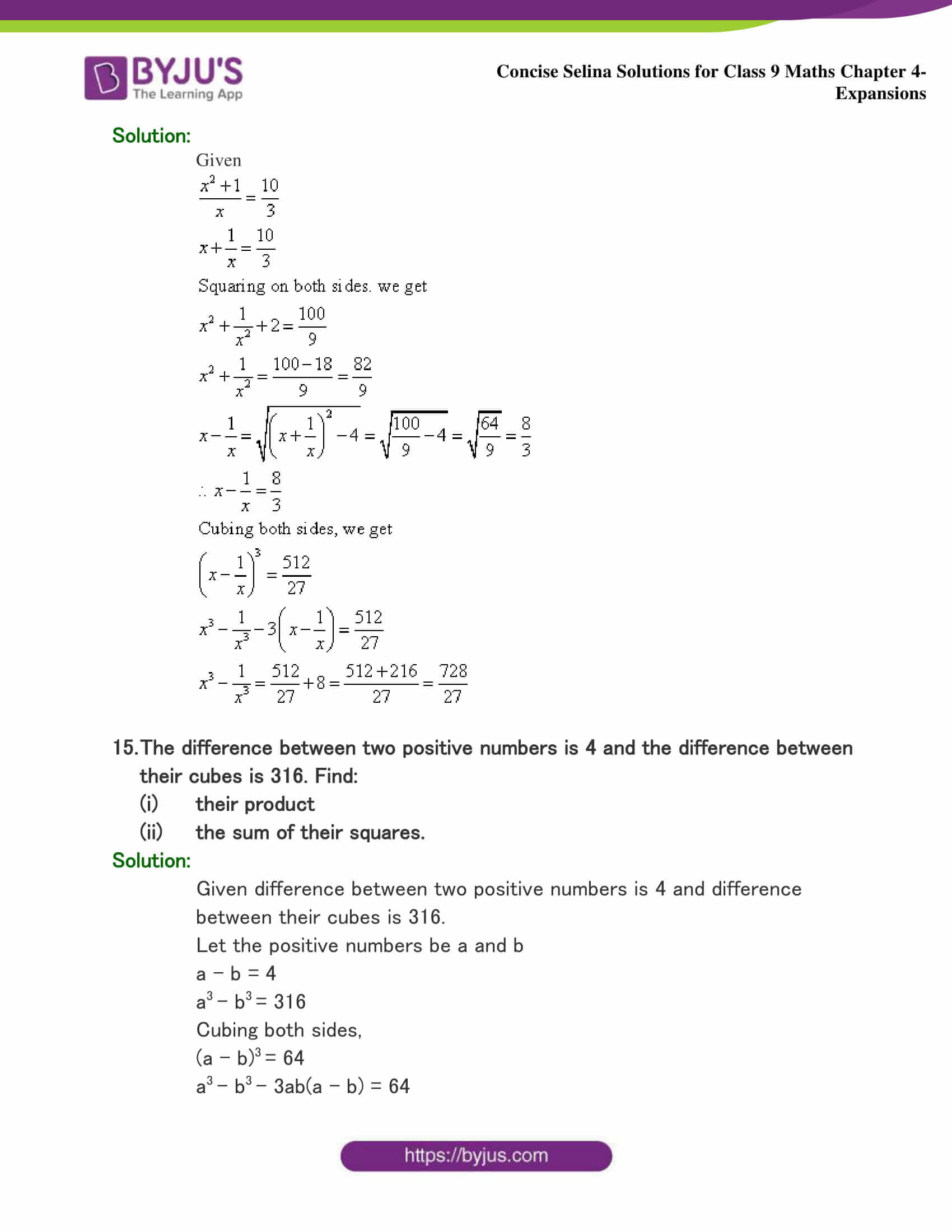 Selina Solutions Class 9 Maths Chapter 4 Expansions part 39