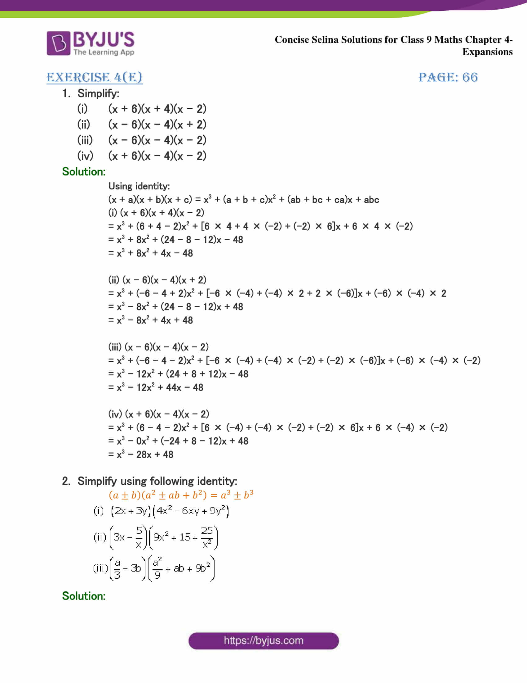 Selina Solutions Class 9 Maths Chapter 4 Expansions part 41