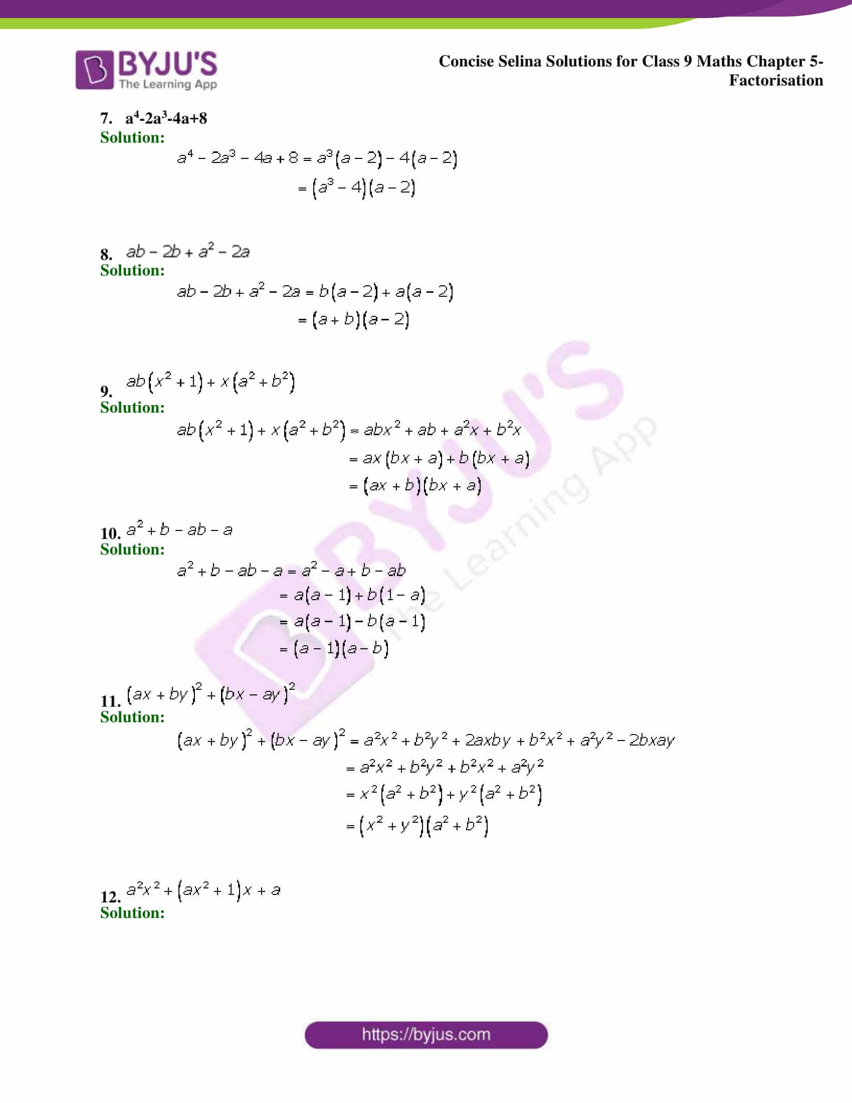 Selina Solutions Class 9 Maths Chapter 5 Factorisation part 02
