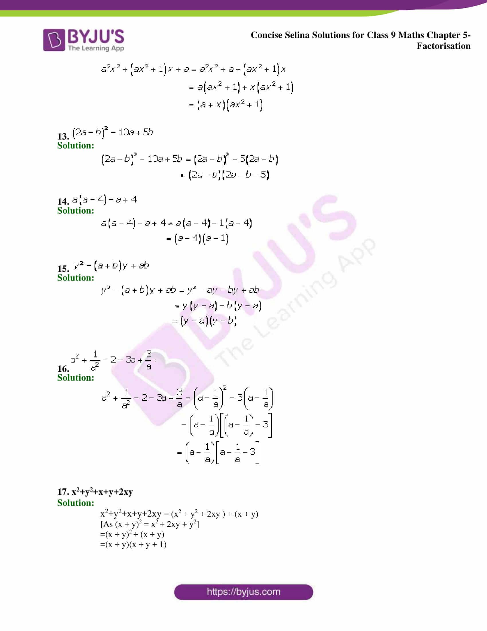 Selina Solutions Class 9 Maths Chapter 5 Factorisation part 03