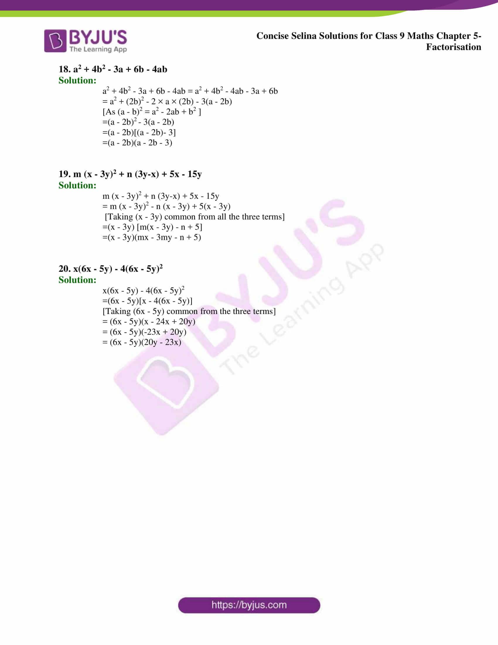 Selina Solutions Class 9 Maths Chapter 5 Factorisation part 04