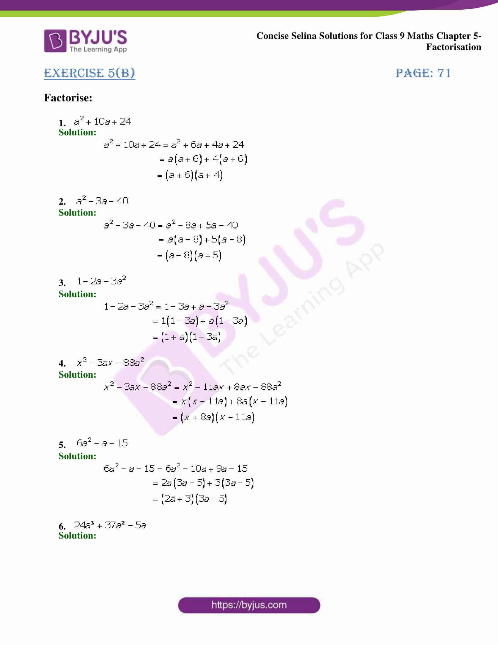 Selina Solutions Class 9 Maths Chapter 5 Factorisation part 05