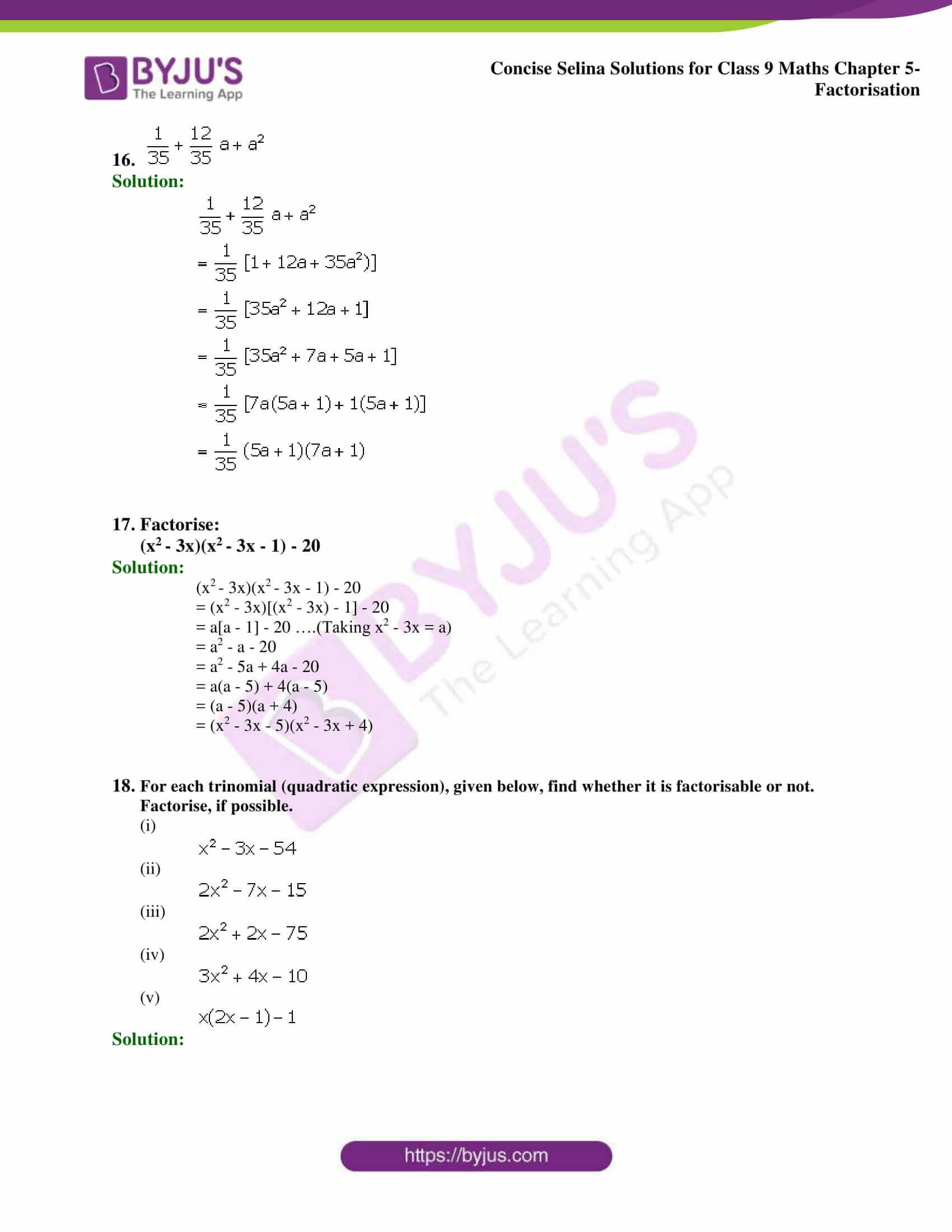 Selina Solutions Class 9 Maths Chapter 5 Factorisation part 09