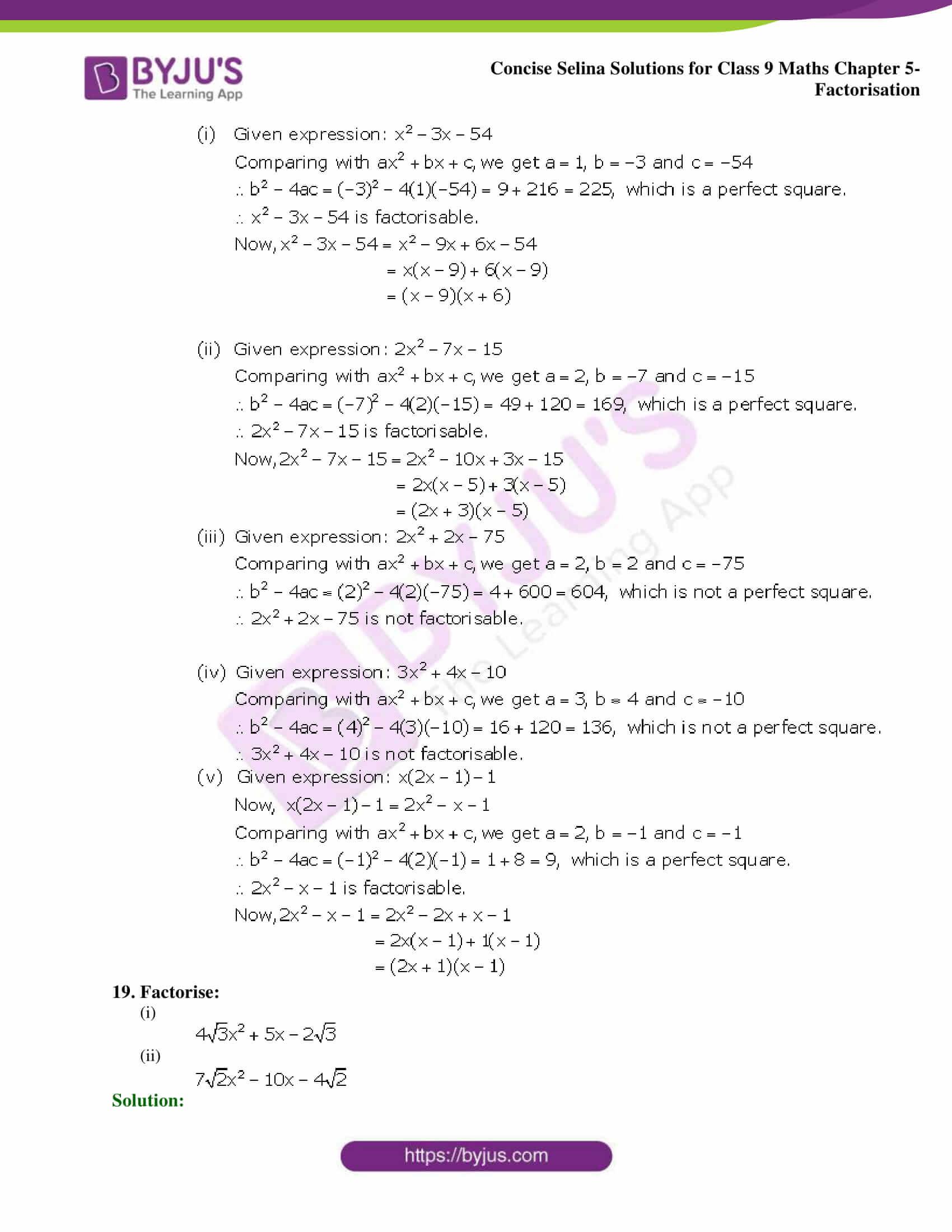 Selina Solutions Class 9 Maths Chapter 5 Factorisation part 10