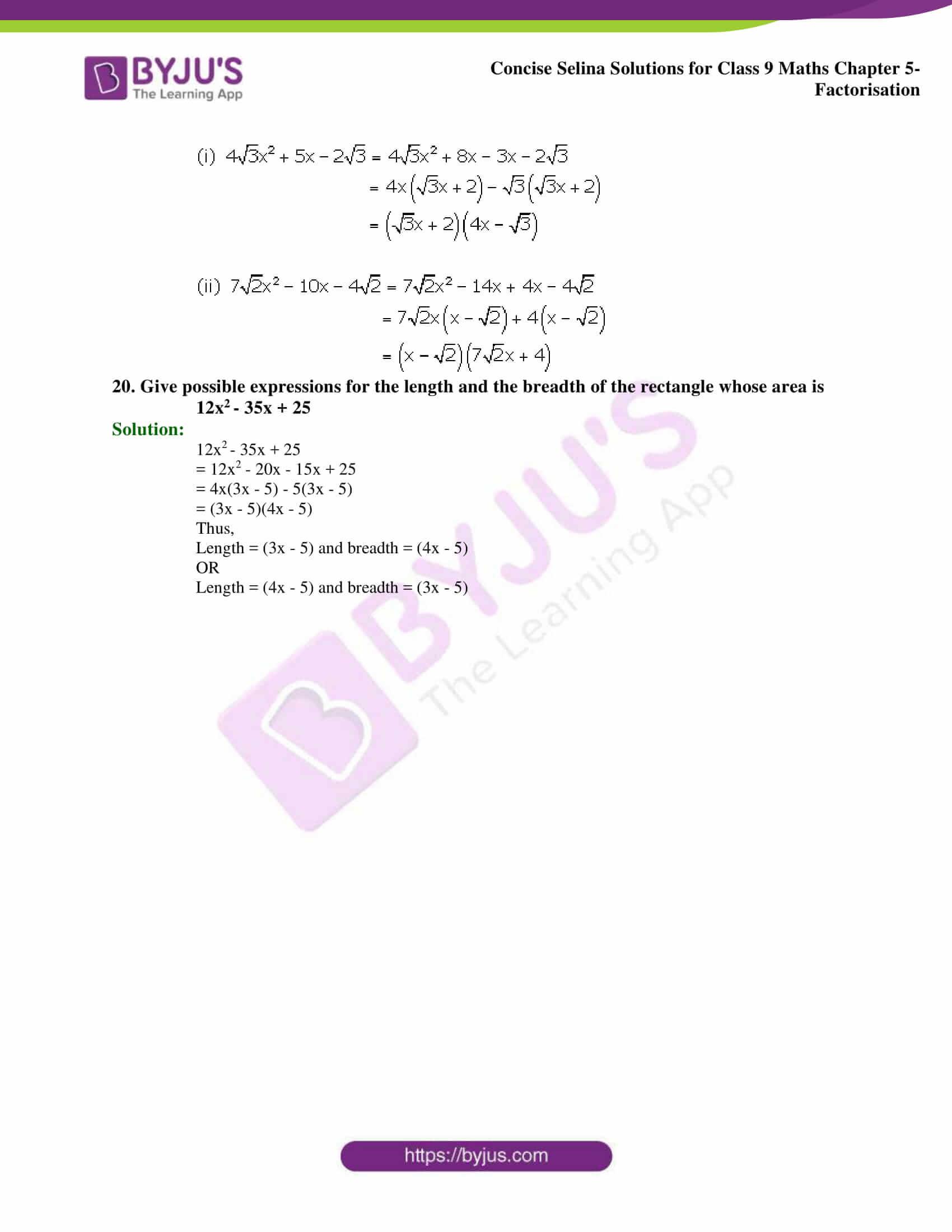 Selina Solutions Class 9 Maths Chapter 5 Factorisation part 11