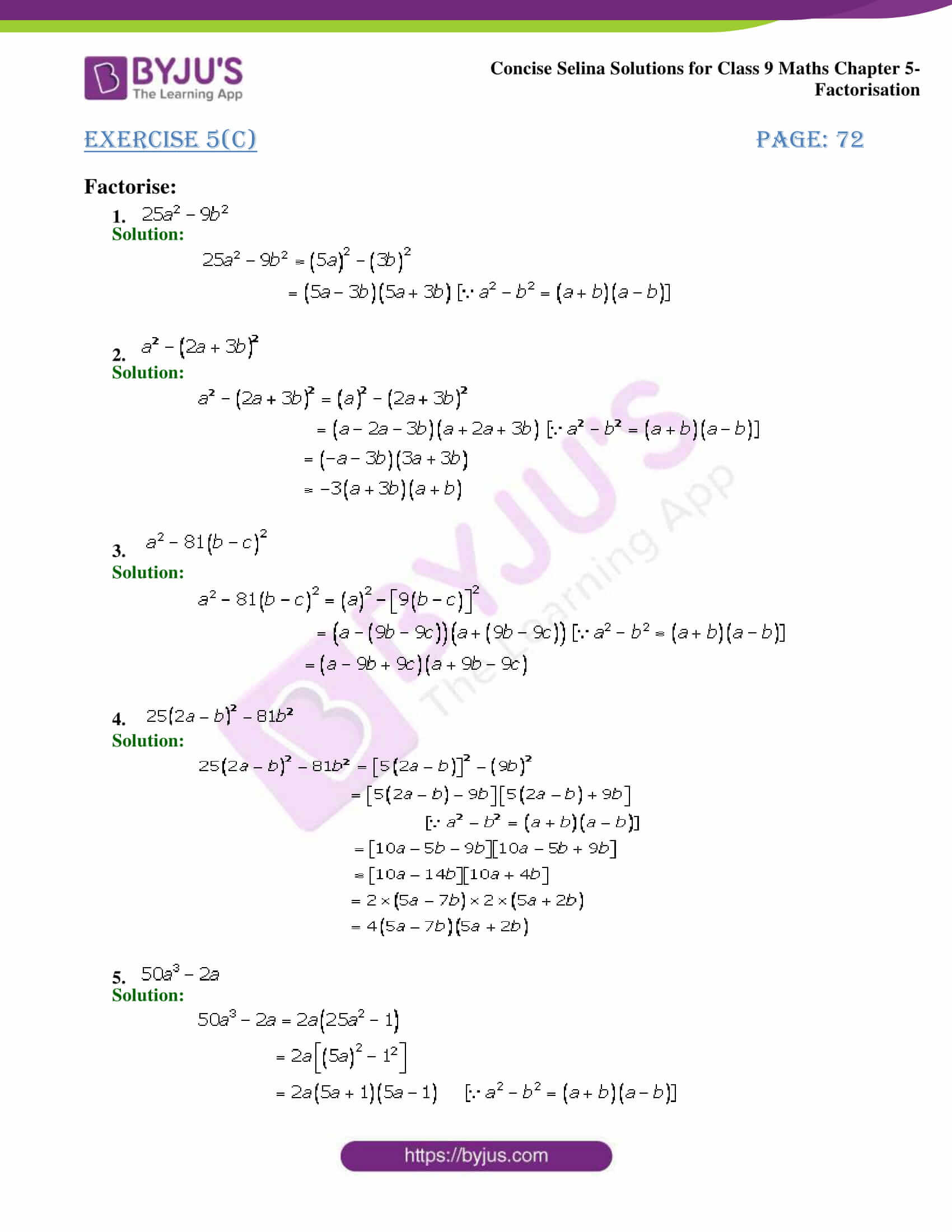 Selina Solutions Class 9 Maths Chapter 5 Factorisation part 12