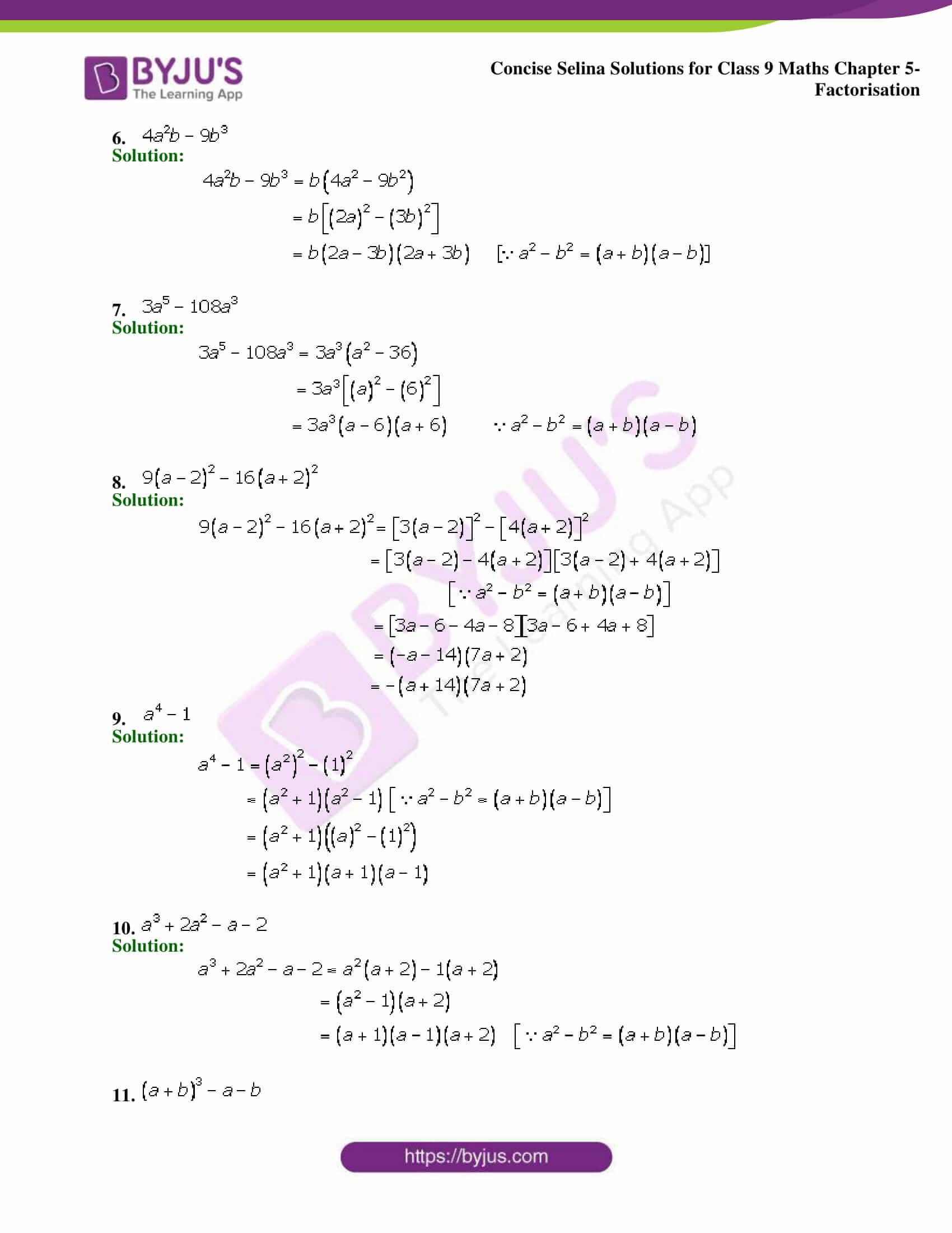 Selina Solutions Class 9 Maths Chapter 5 Factorisation part 13