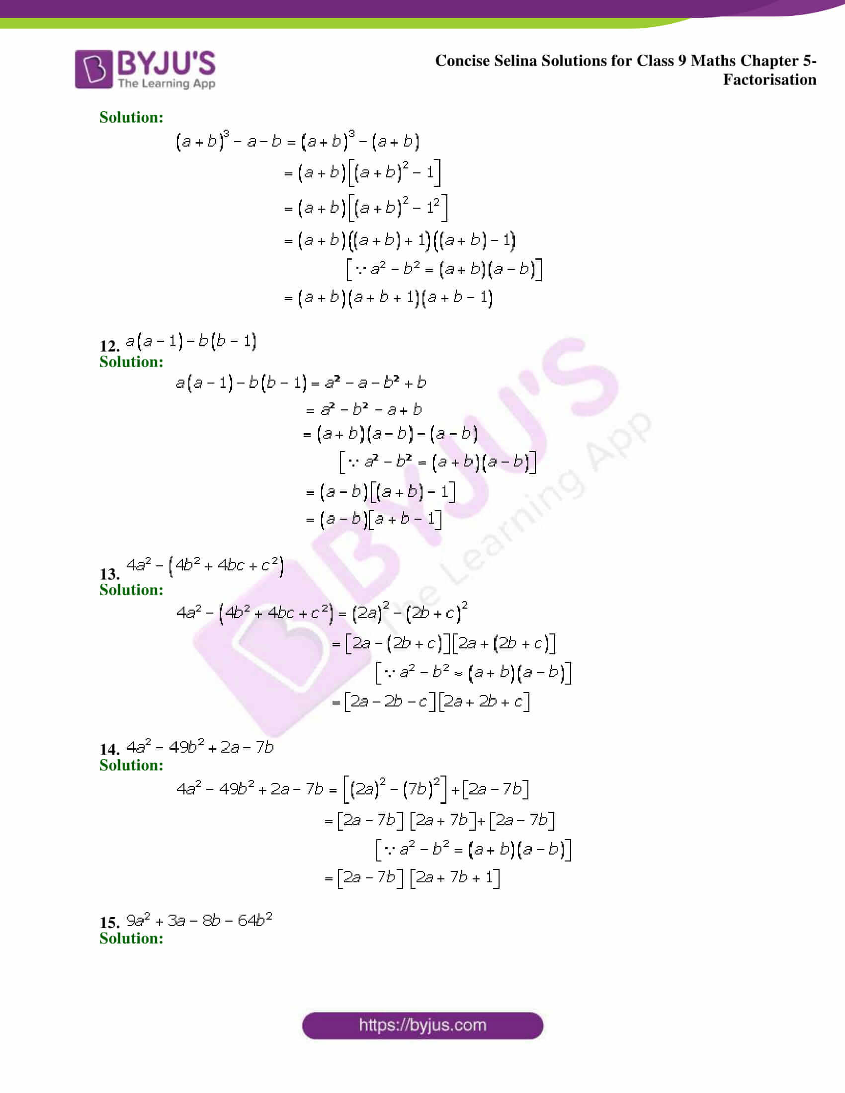 Selina Solutions Class 9 Maths Chapter 5 Factorisation part 14