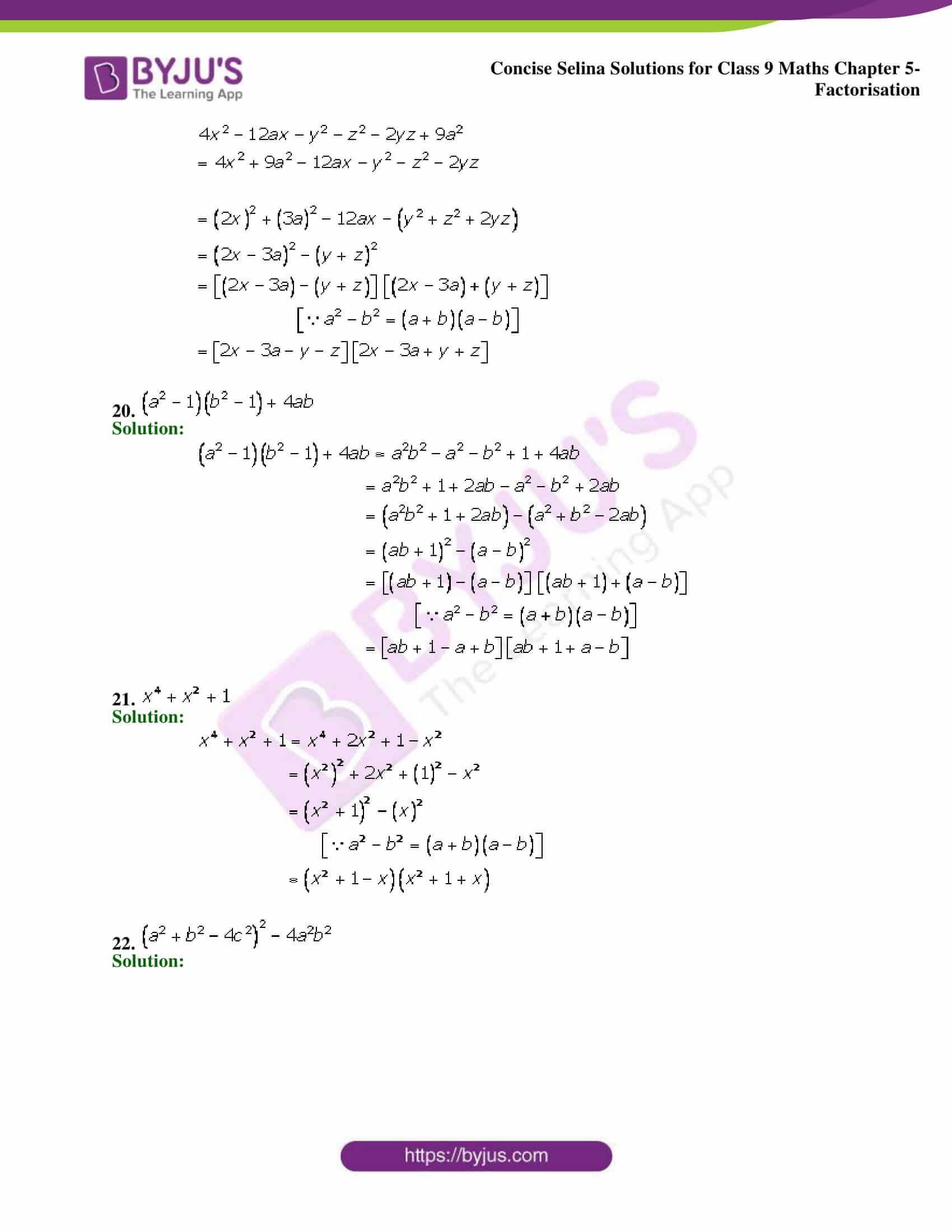 Selina Solutions Class 9 Maths Chapter 5 Factorisation part 16