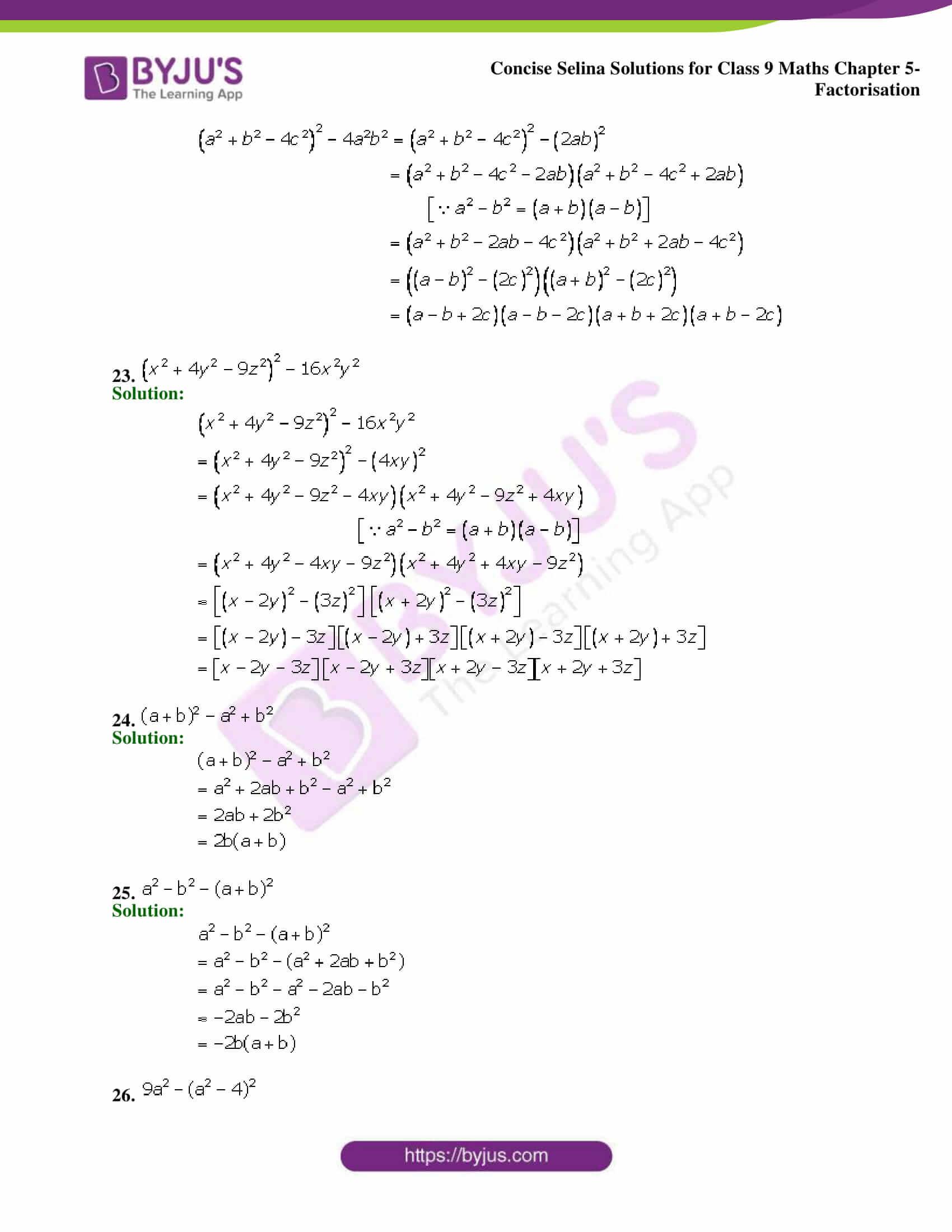 Selina Solutions Class 9 Maths Chapter 5 Factorisation part 17