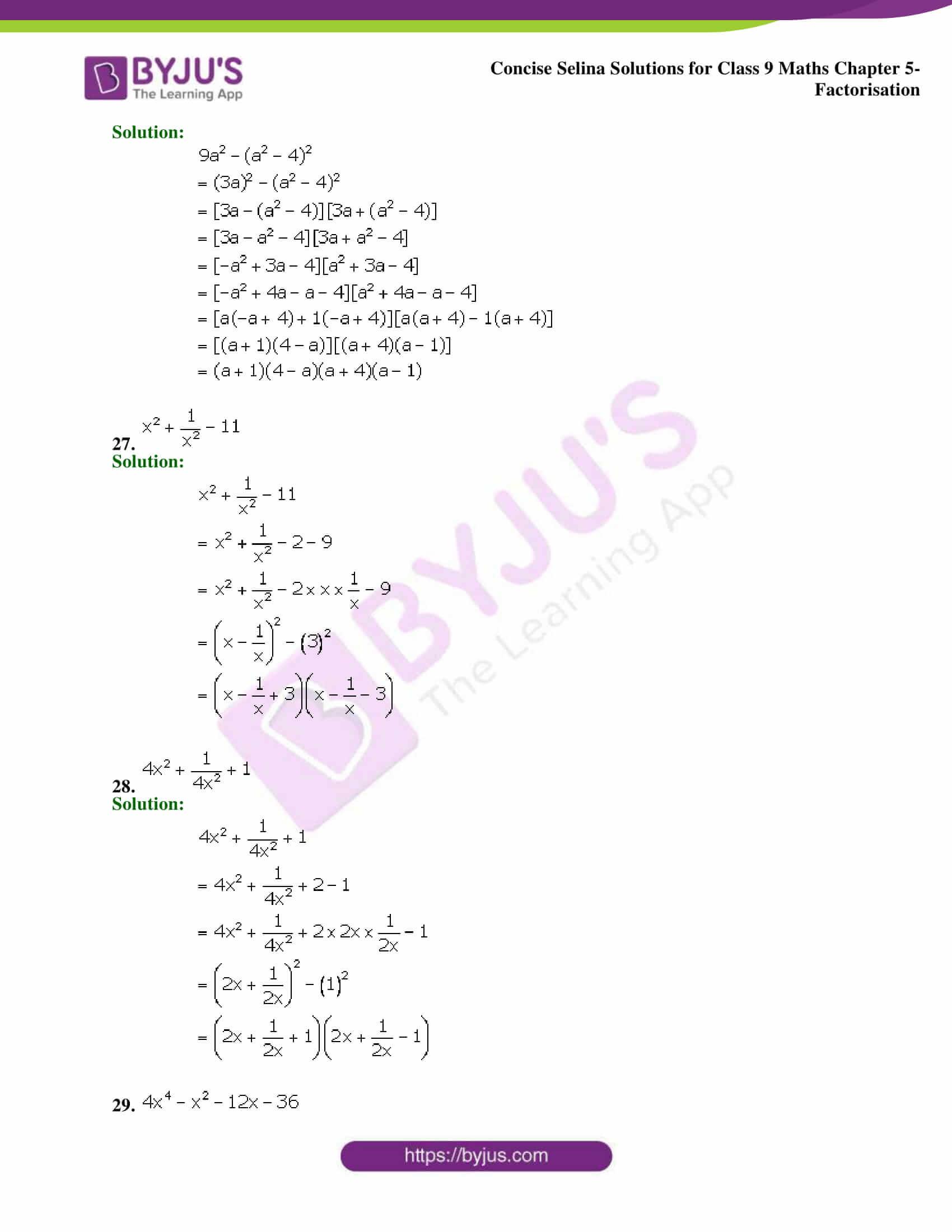 Selina Solutions Class 9 Maths Chapter 5 Factorisation part 18