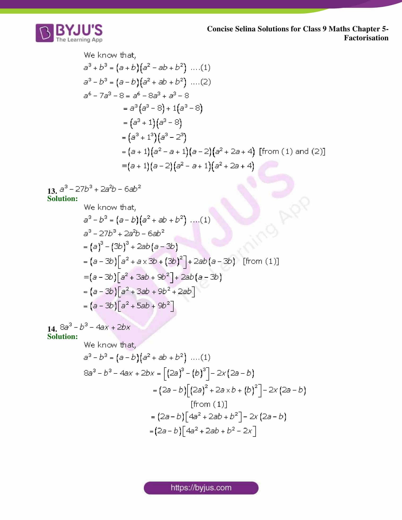Selina Solutions Class 9 Maths Chapter 5 Factorisation part 23