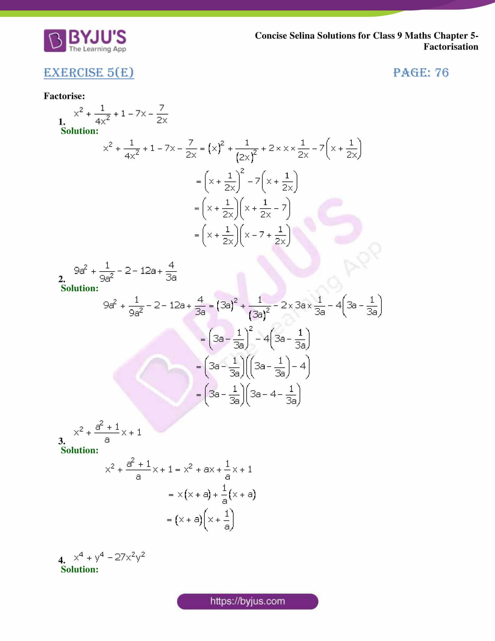Selina Solutions Class 9 Maths Chapter 5 Factorisation part 26