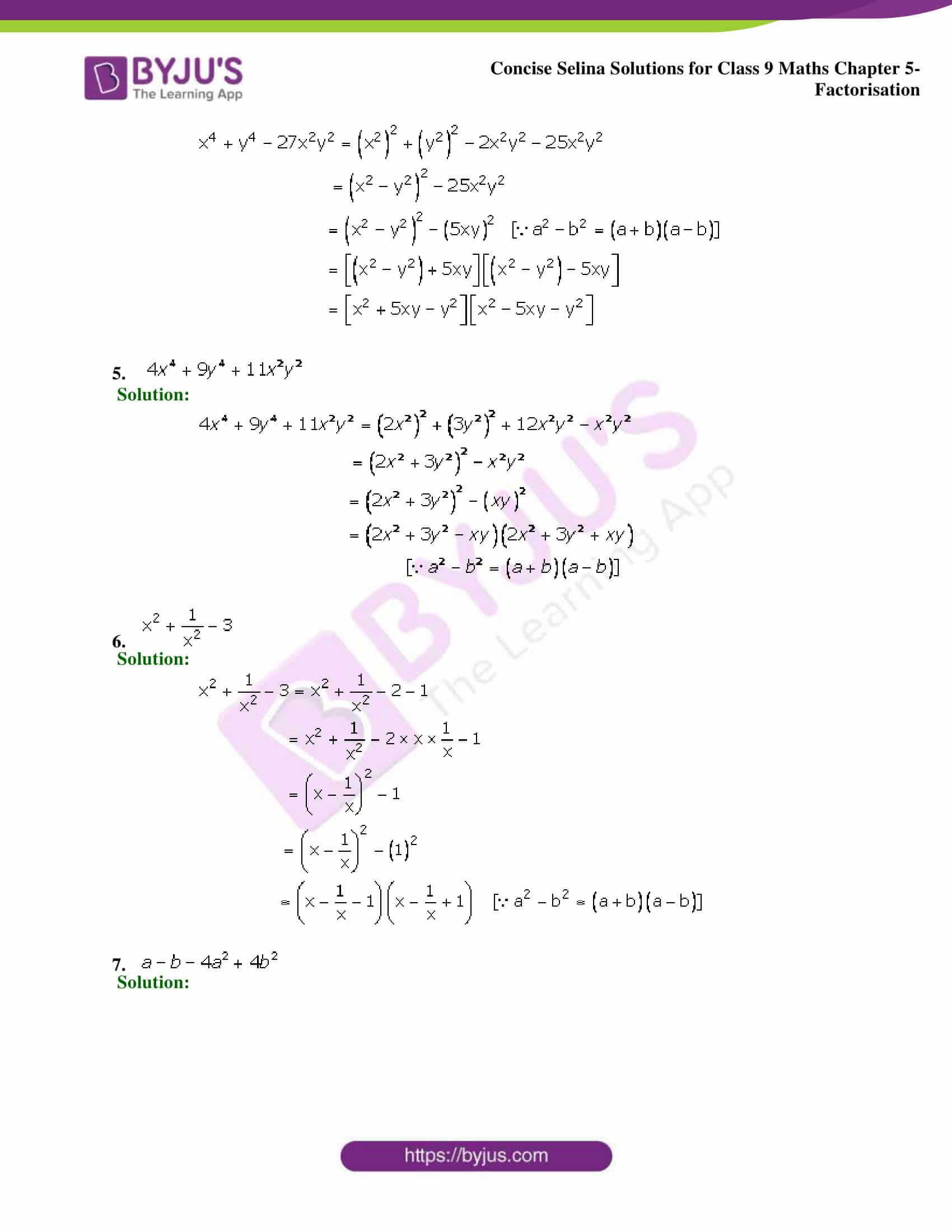 Selina Solutions Class 9 Maths Chapter 5 Factorisation part 27