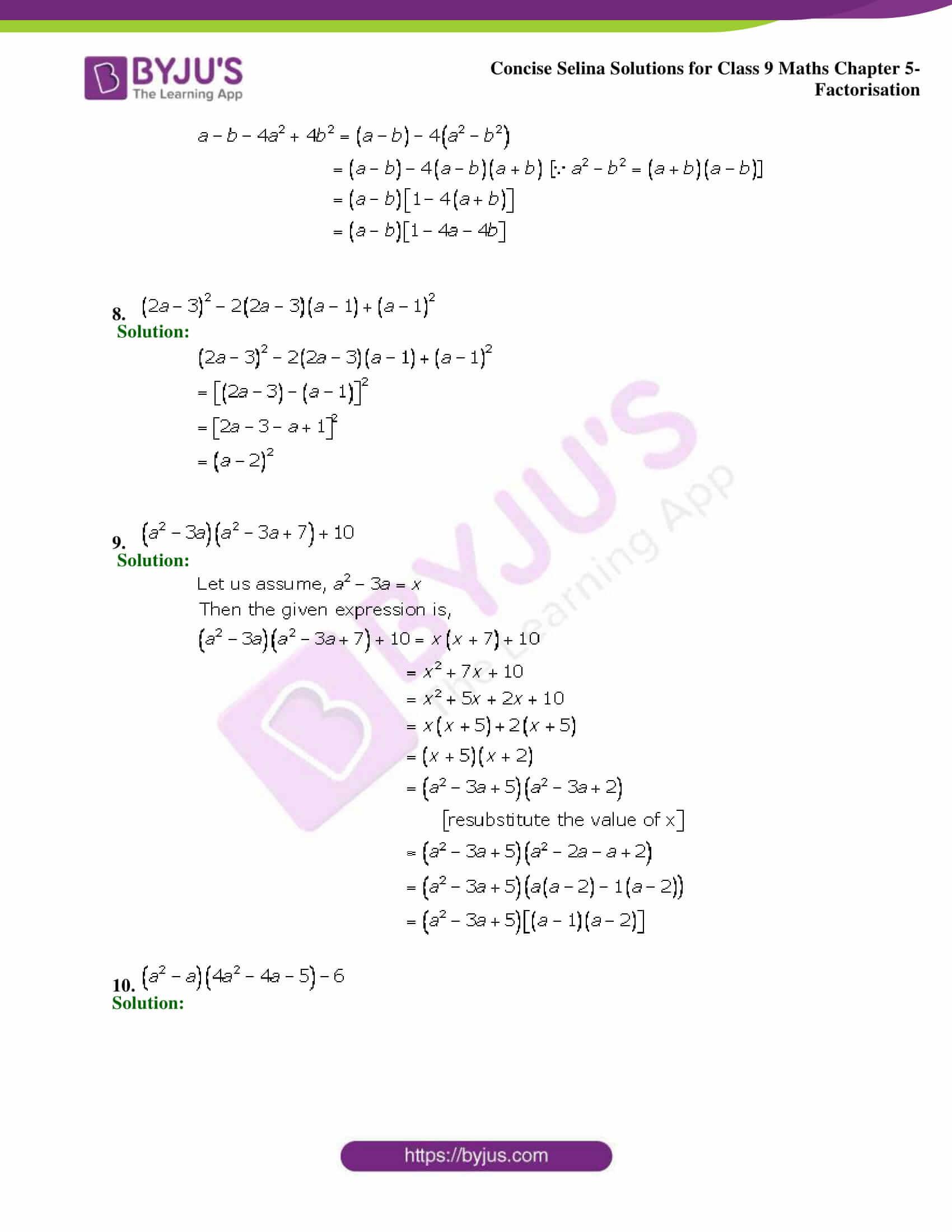 Selina Solutions Class 9 Maths Chapter 5 Factorisation part 28