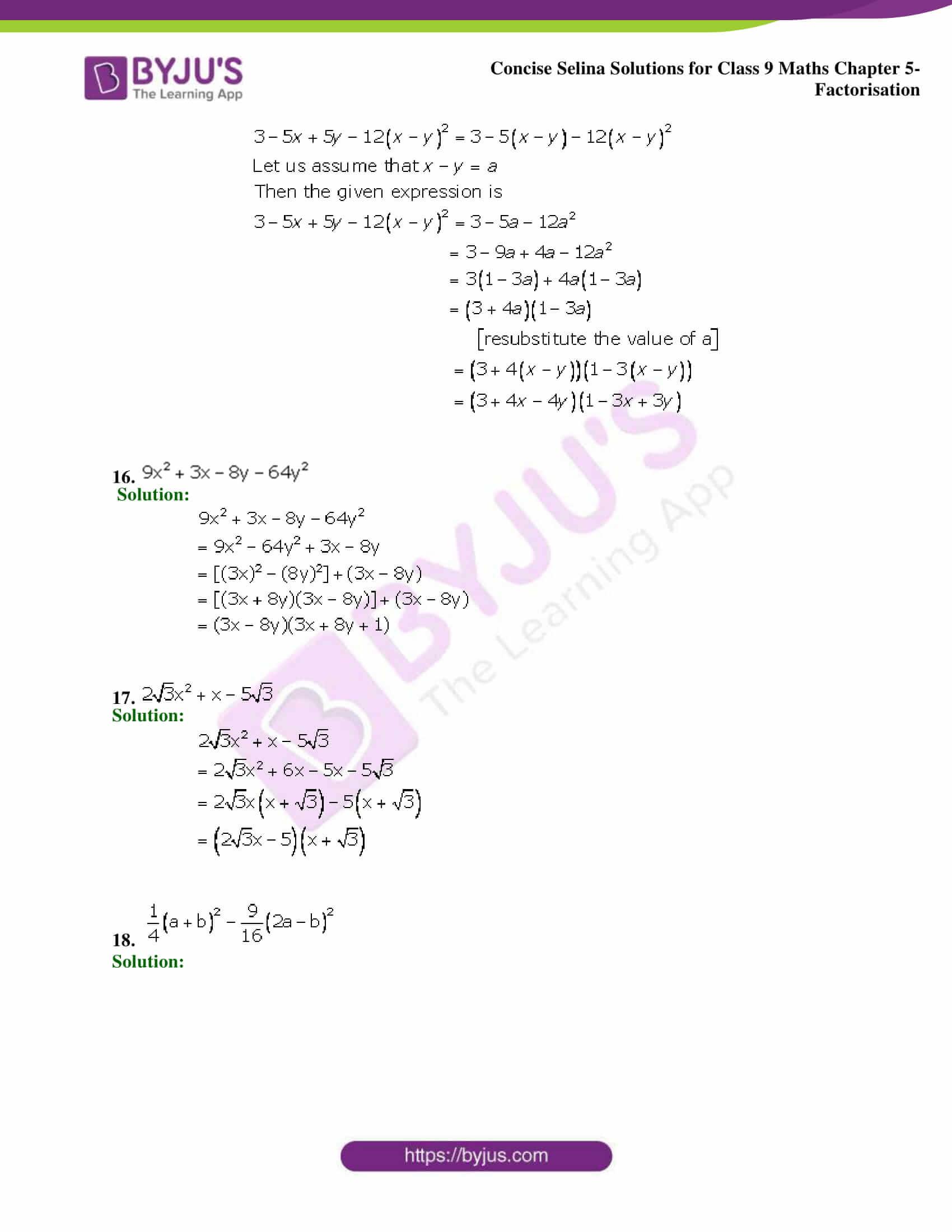Selina Solutions Class 9 Maths Chapter 5 Factorisation part 31