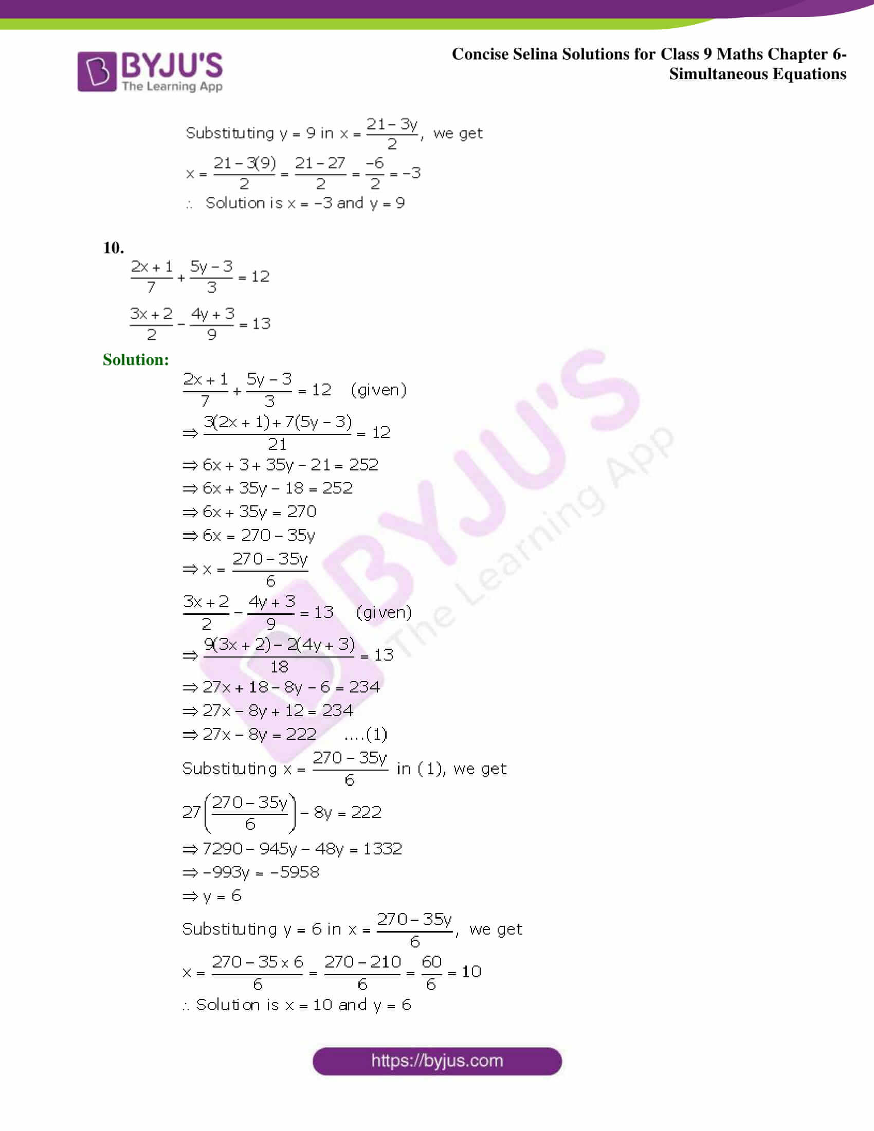 Selina Solutions Class 9 Maths Chapter 6 Simultaneous Equations part 06