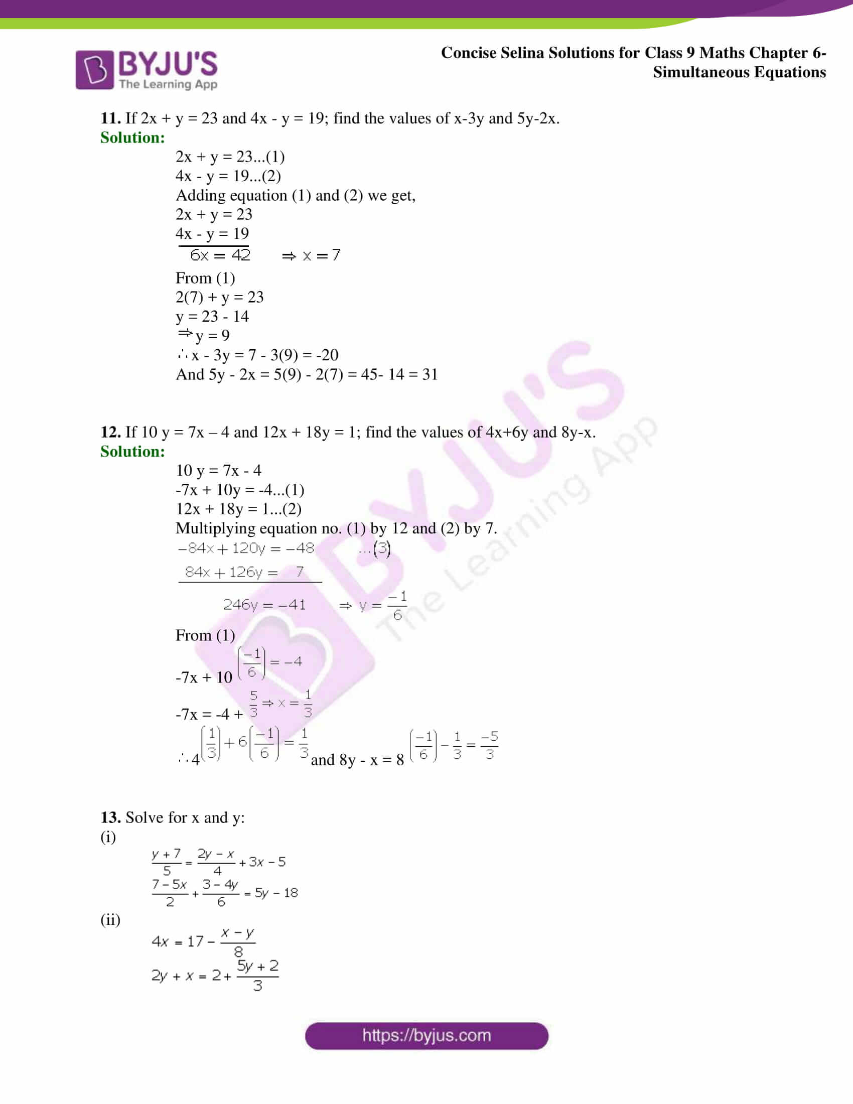 Selina Solutions Class 9 Maths Chapter 6 Simultaneous Equations part 15