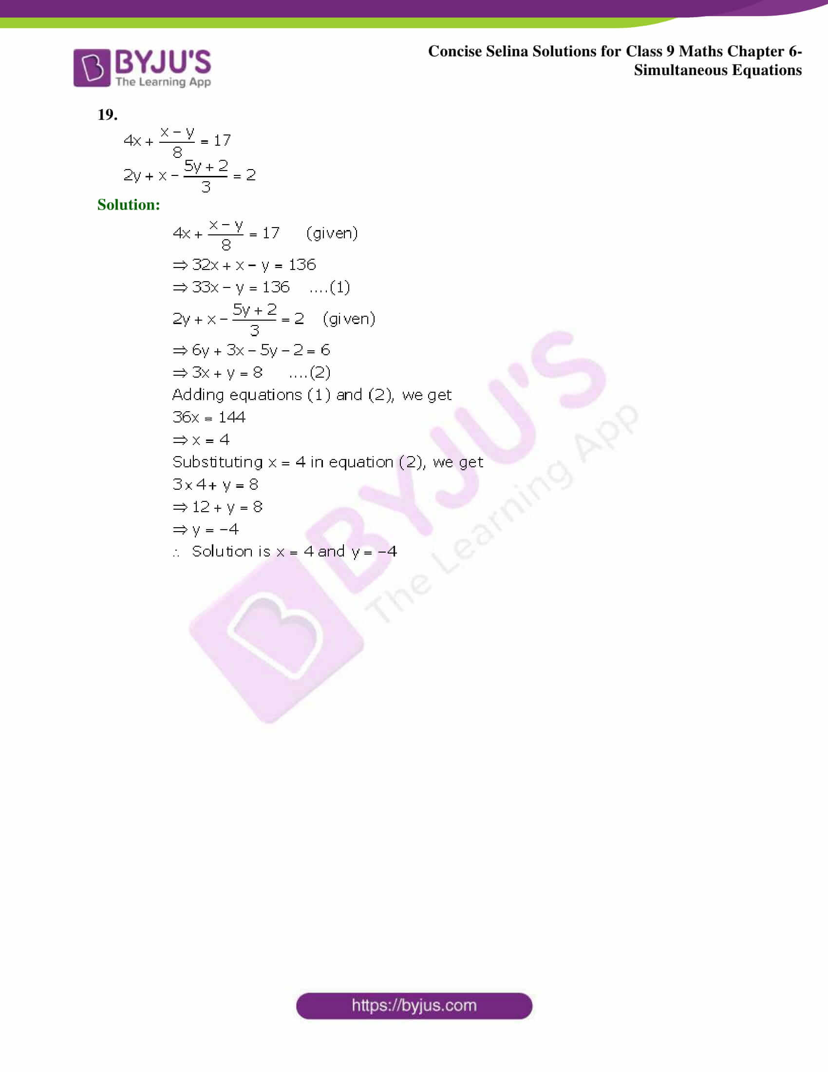 Selina Solutions Class 9 Maths Chapter 6 Simultaneous Equations part 20