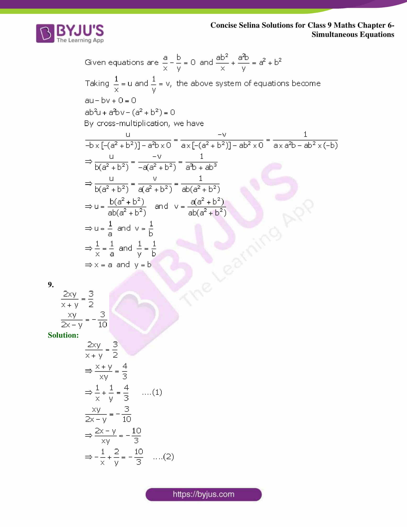 Selina Solutions Class 9 Maths Chapter 6 Simultaneous Equations part 34
