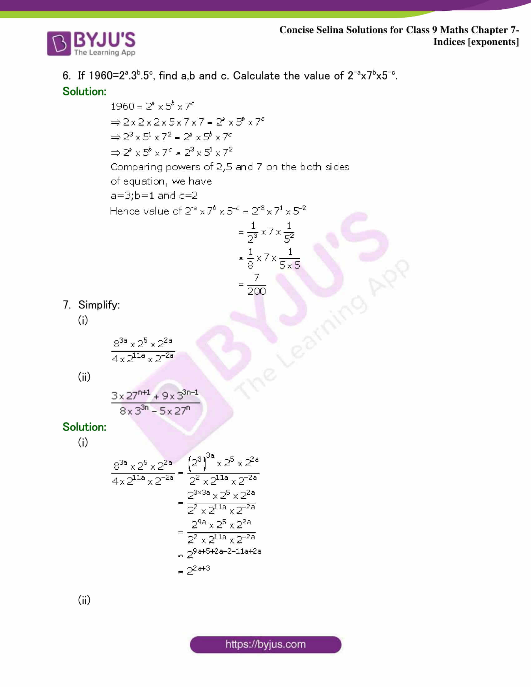 Selina Solutions Class 9 Maths Chapter 7 Indices part 10