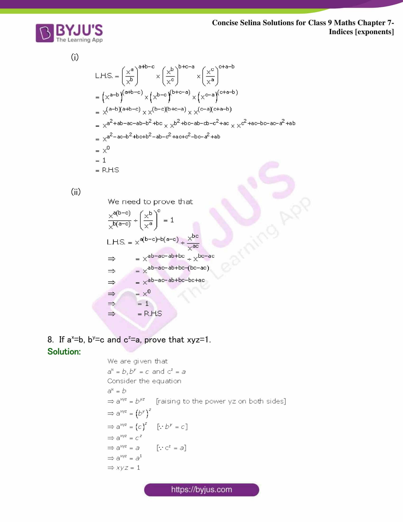 Selina Solutions Class 9 Maths Chapter 7 Indices part 23