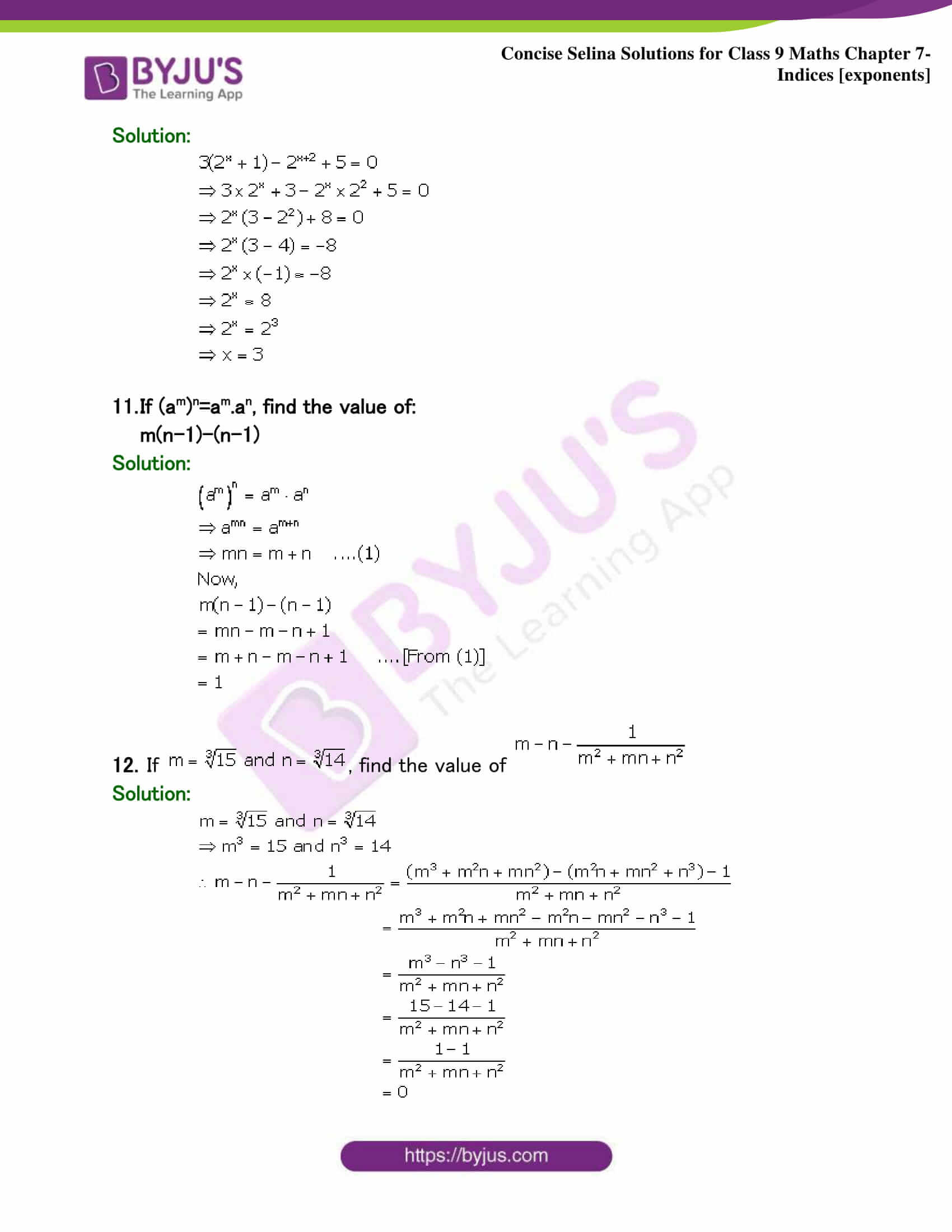 Selina Solutions Class 9 Maths Chapter 7 Indices part 34