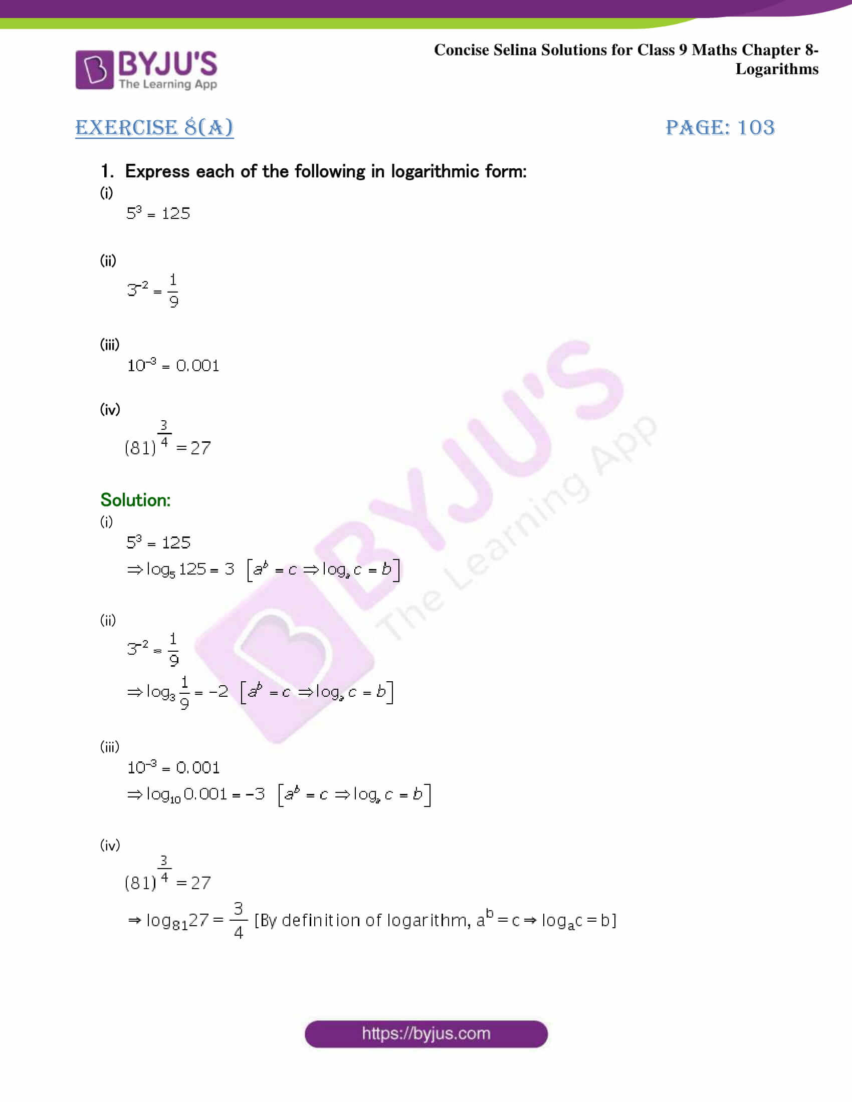 Selina Solutions Class 9 Maths Chapter 8 Logarithms part 01