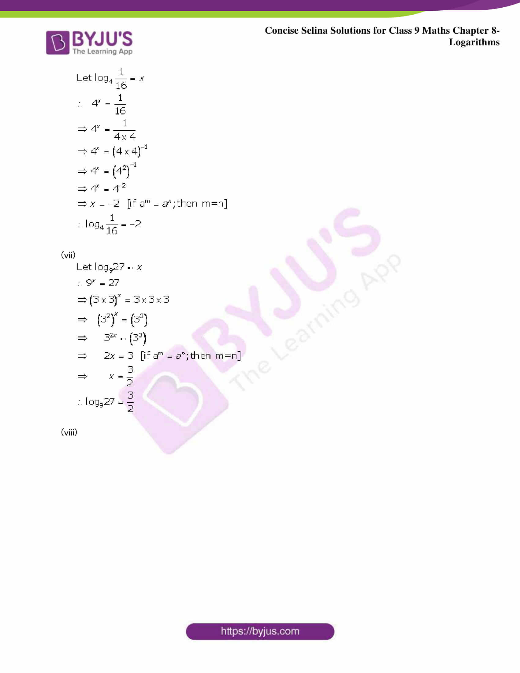 Selina Solutions Class 9 Maths Chapter 8 Logarithms part 05