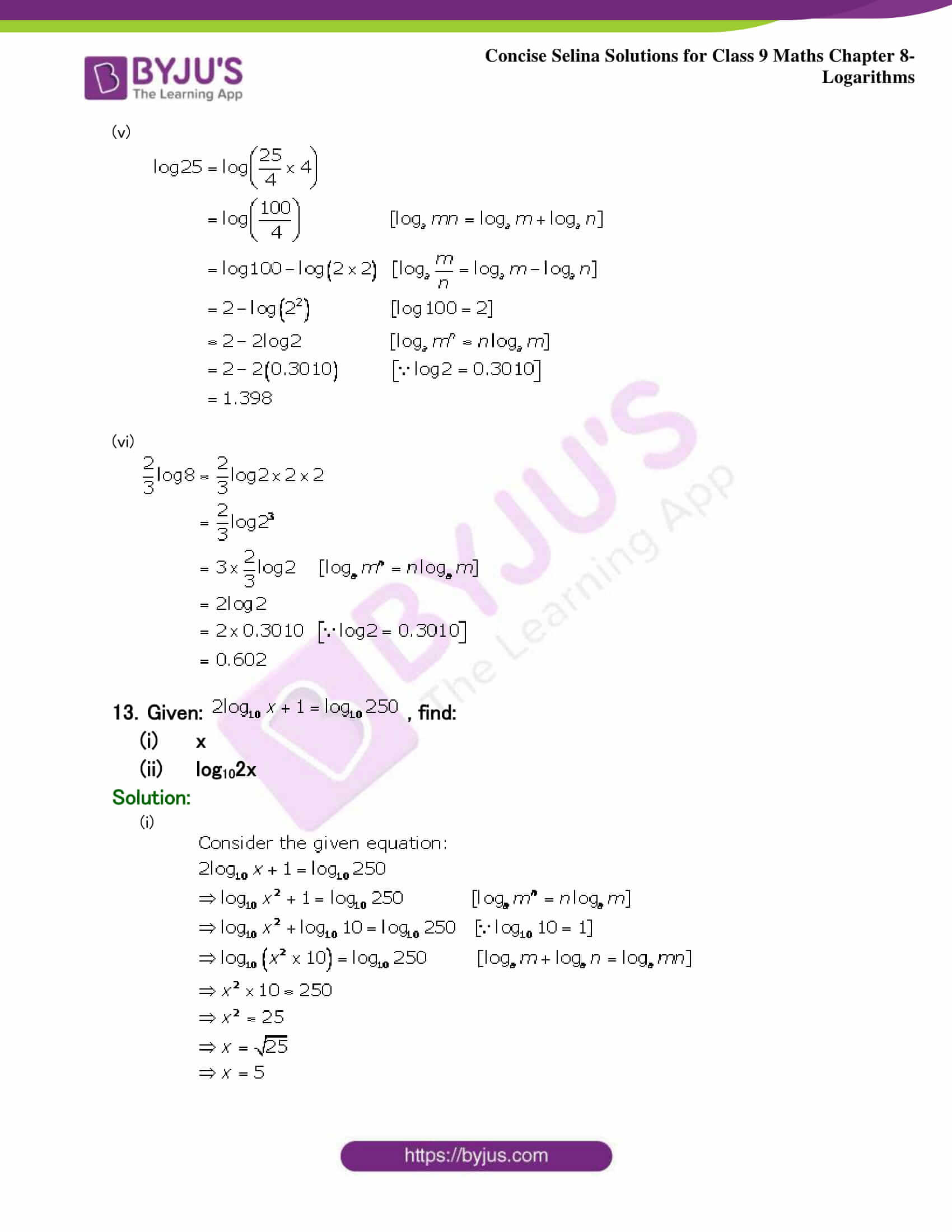 Selina Solutions Class 9 Maths Chapter 8 Logarithms part 27