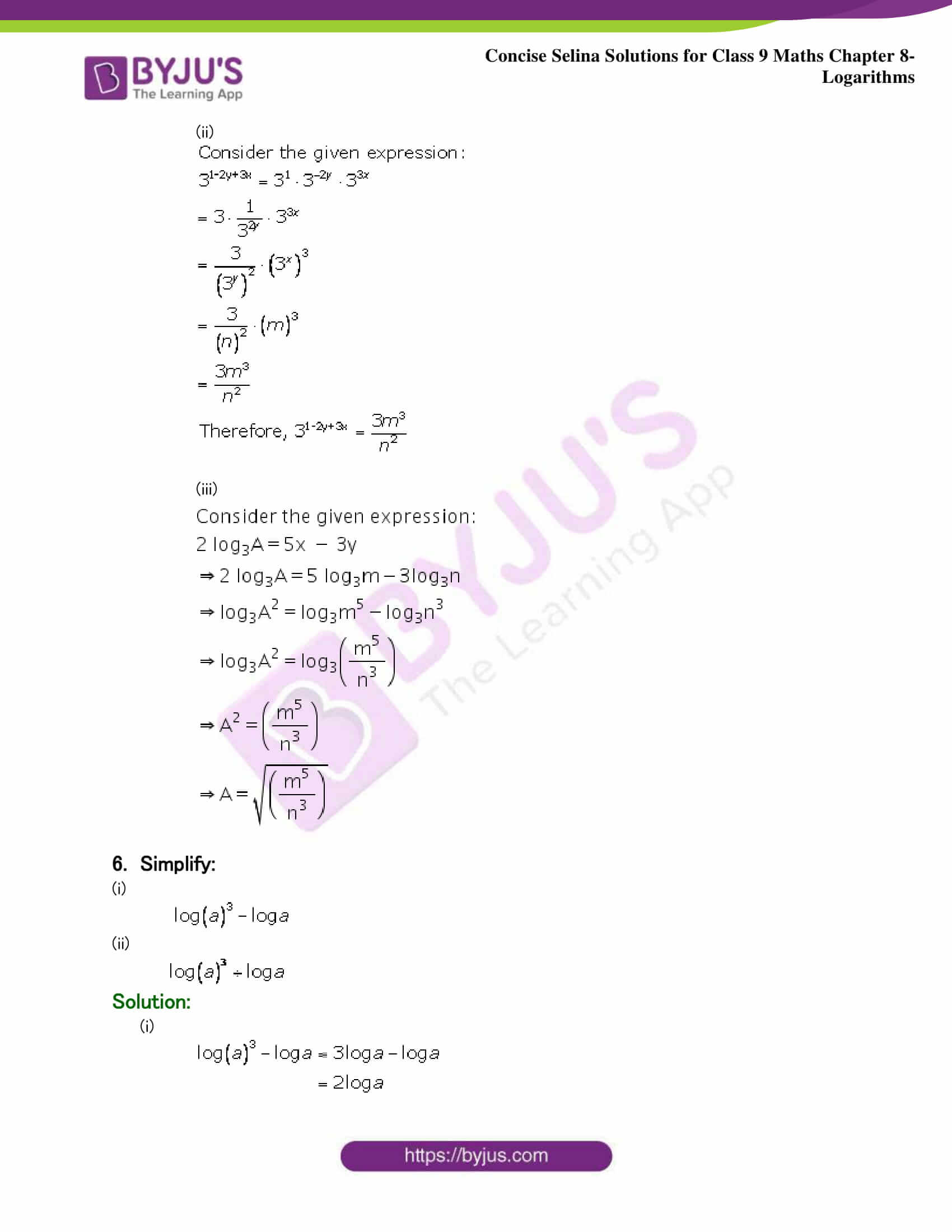 Selina Solutions Class 9 Maths Chapter 8 Logarithms part 33