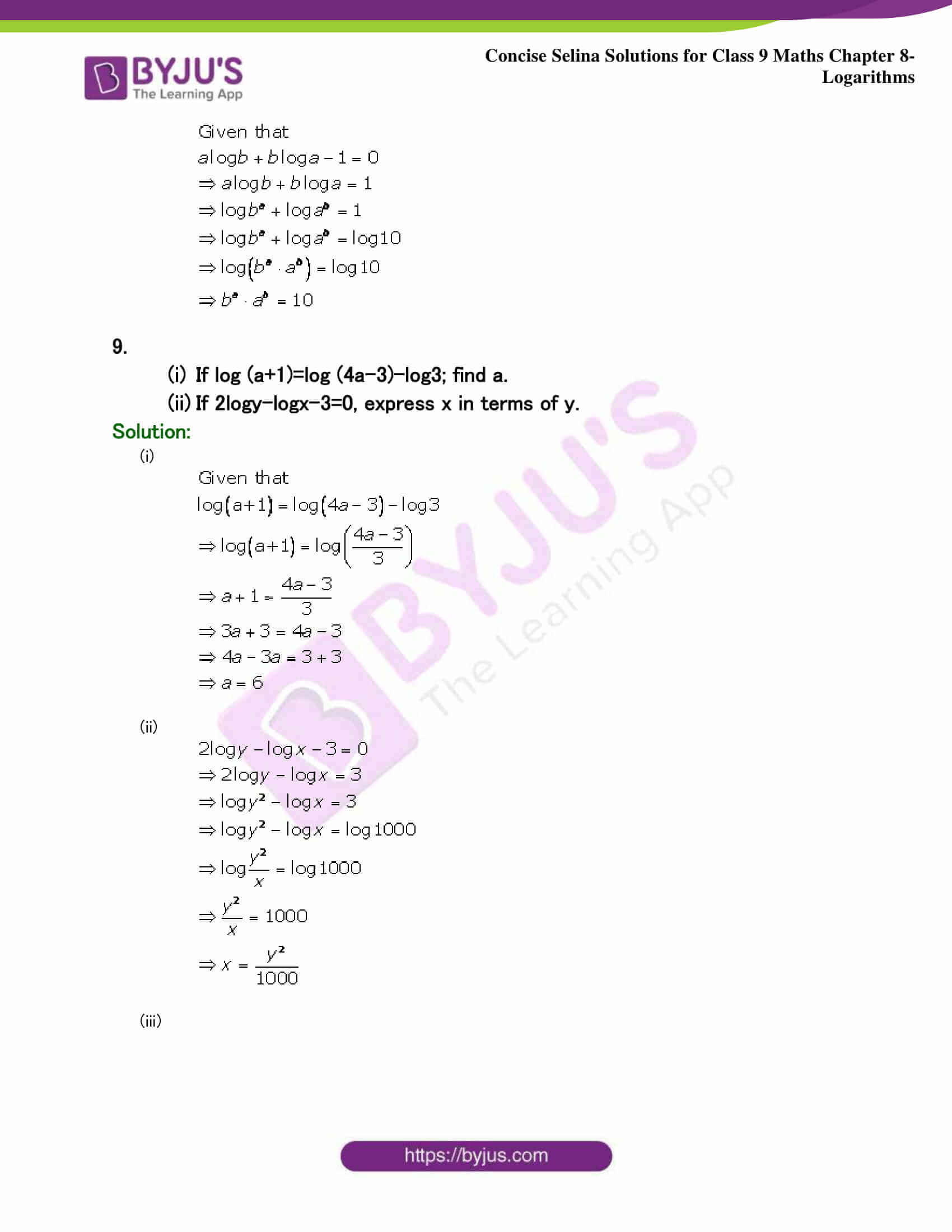 Selina Solutions Class 9 Maths Chapter 8 Logarithms part 35