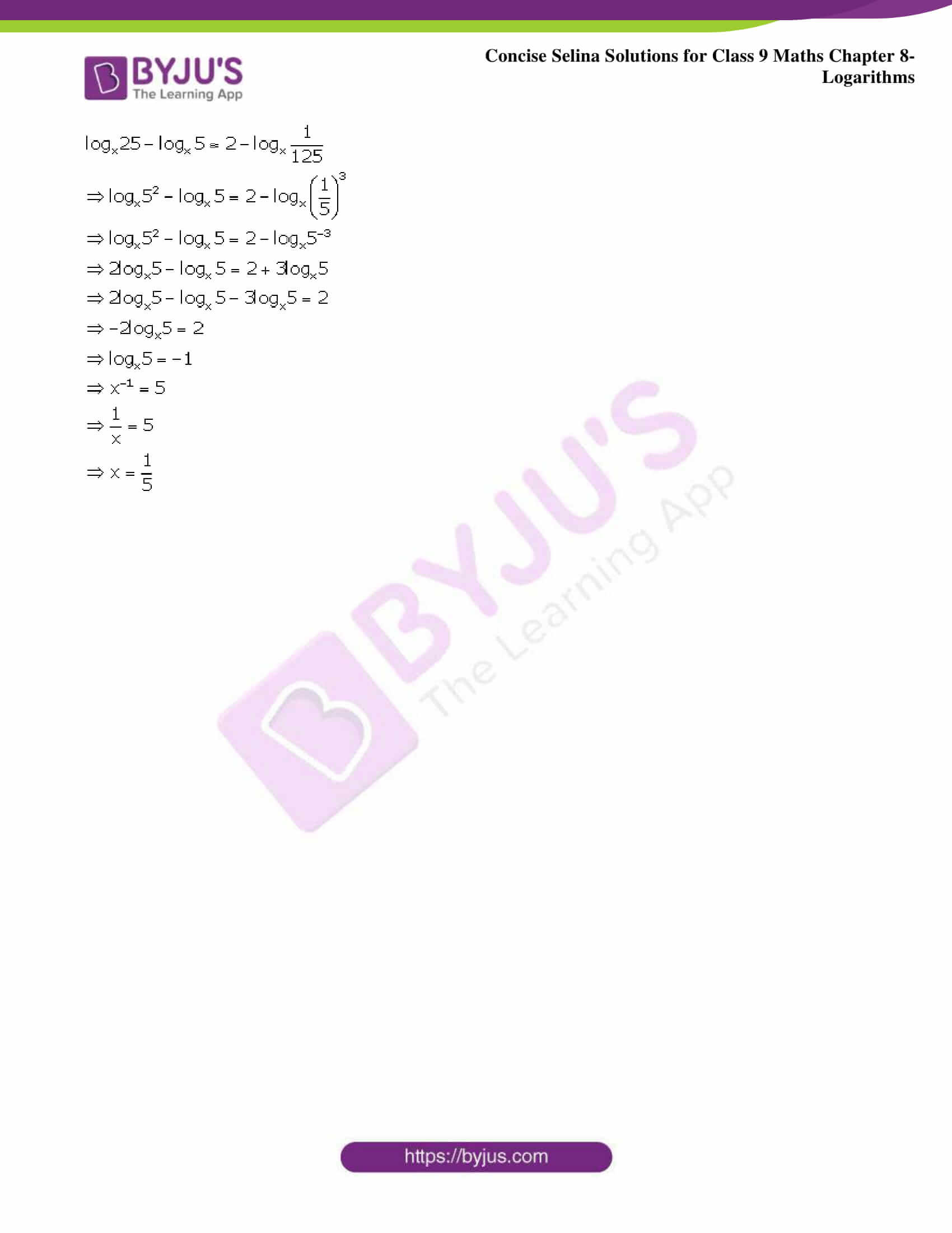 Selina Solutions Class 9 Maths Chapter 8 Logarithms part 37