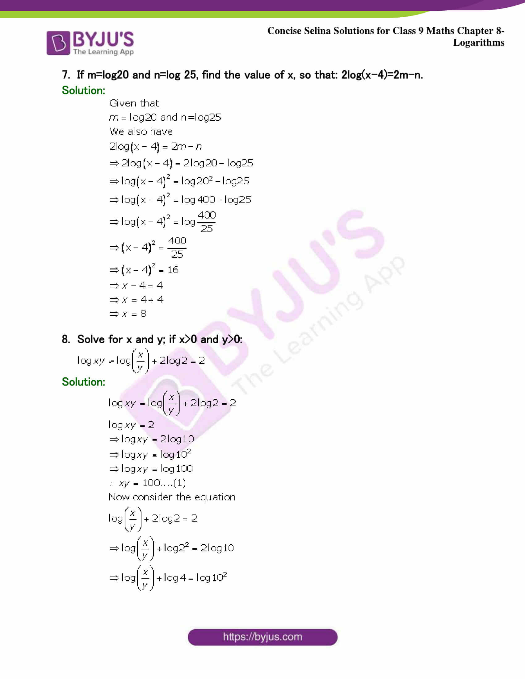 Selina Solutions Class 9 Maths Chapter 8 Logarithms part 42