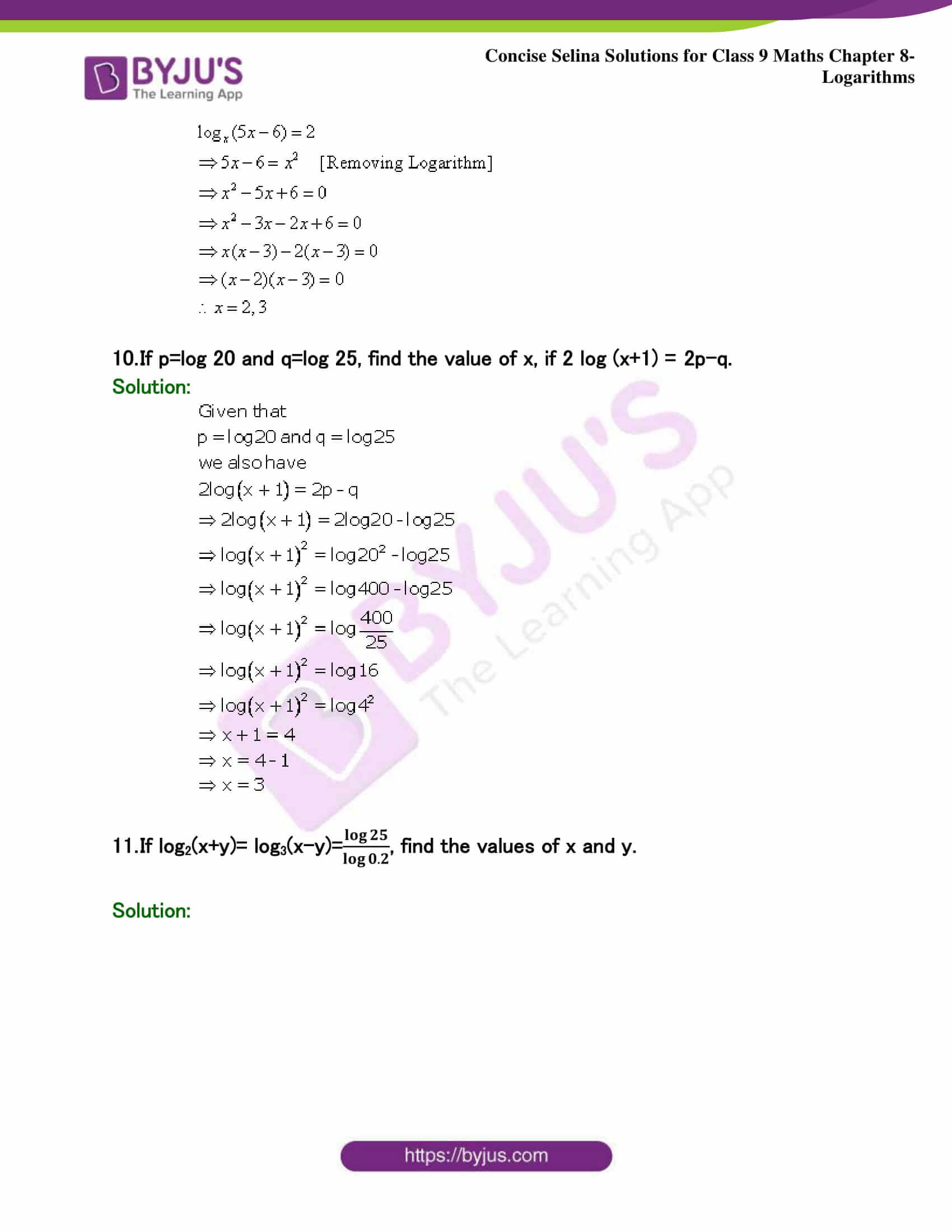 Selina Solutions Class 9 Maths Chapter 8 Logarithms part 44