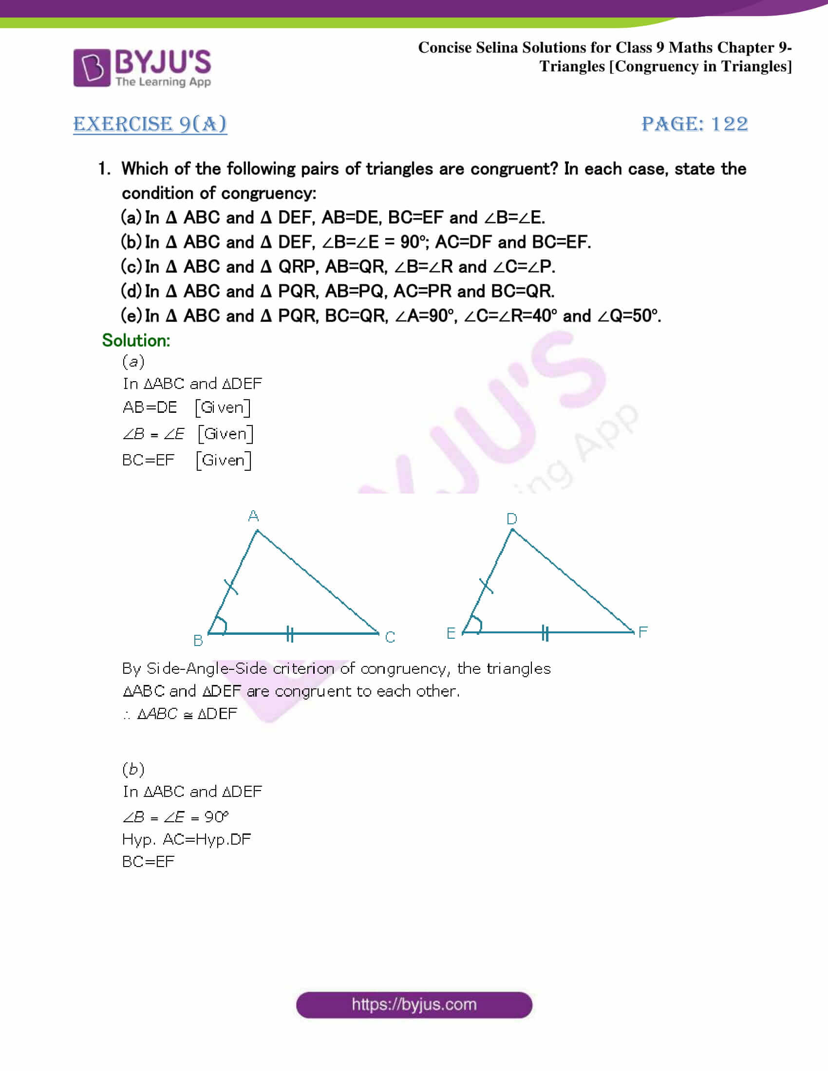 Selina Solutions Class 9 Maths Chapter 9 Triangles part 01