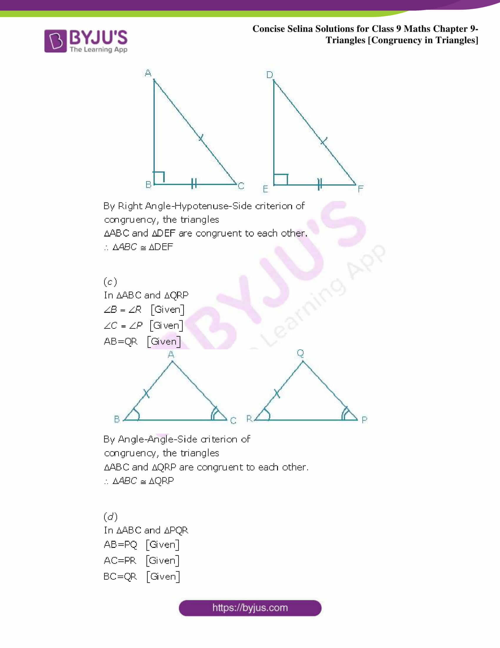 Selina Solutions Class 9 Maths Chapter 9 Triangles part 02
