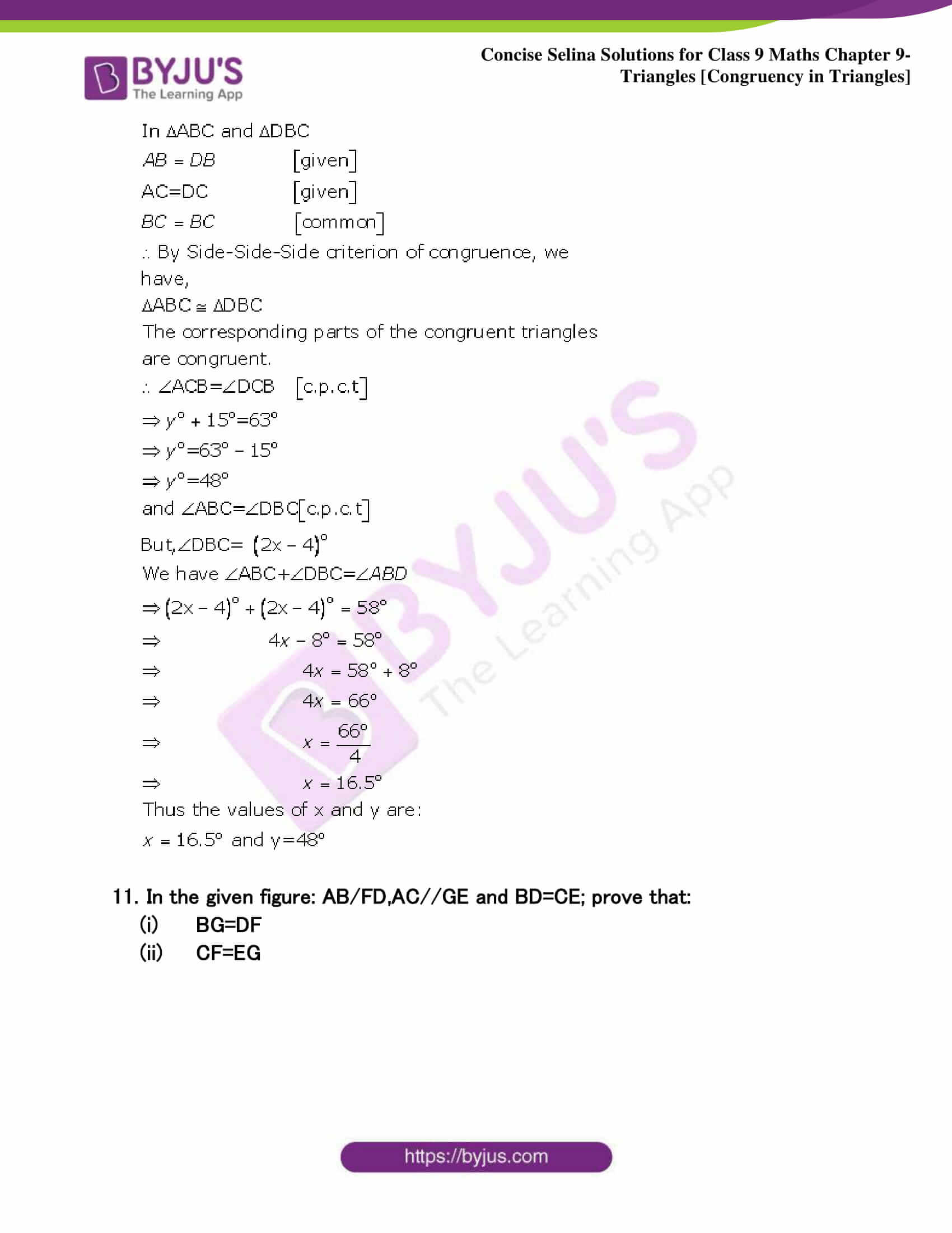 Selina Solutions Class 9 Maths Chapter 9 Triangles part 14