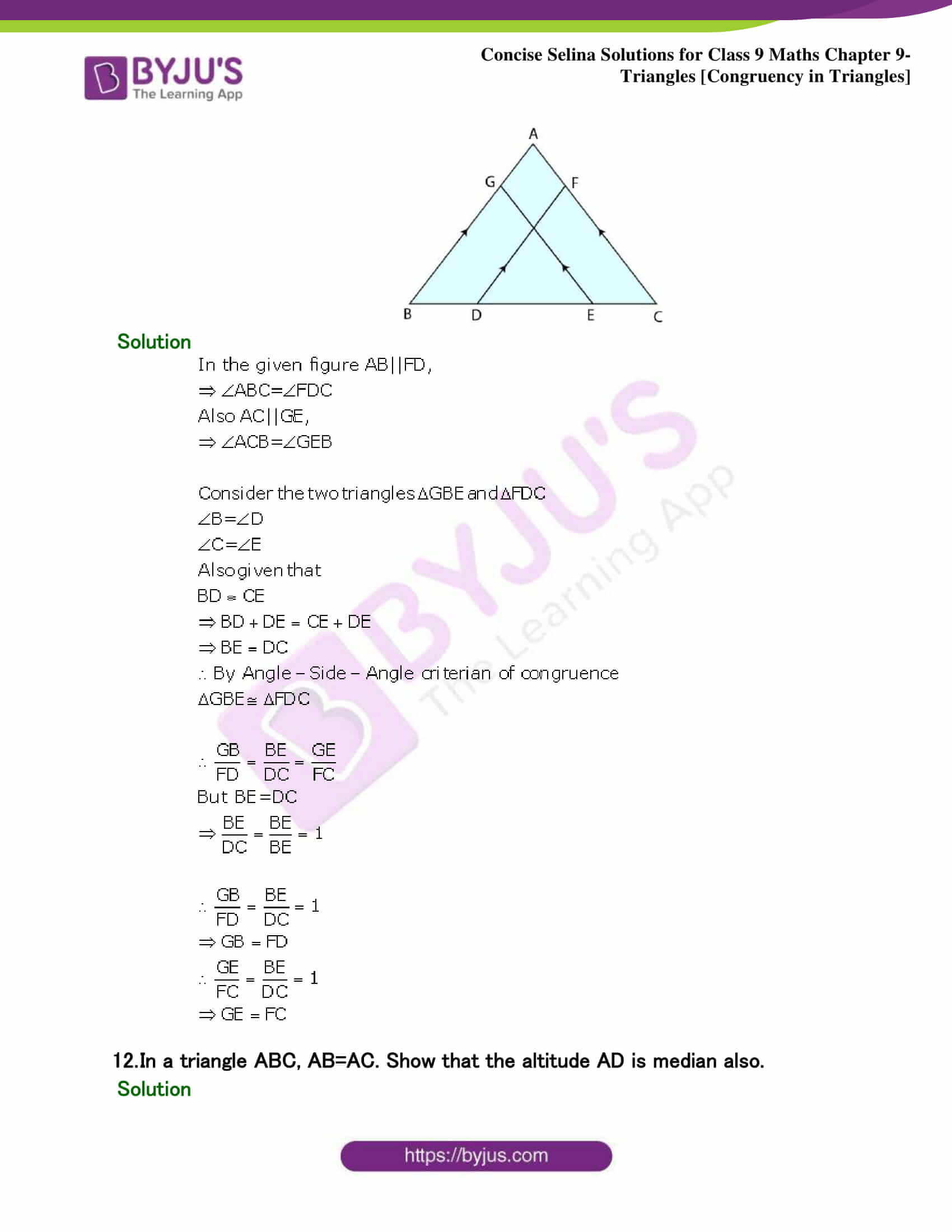 Selina Solutions Class 9 Maths Chapter 9 Triangles part 15
