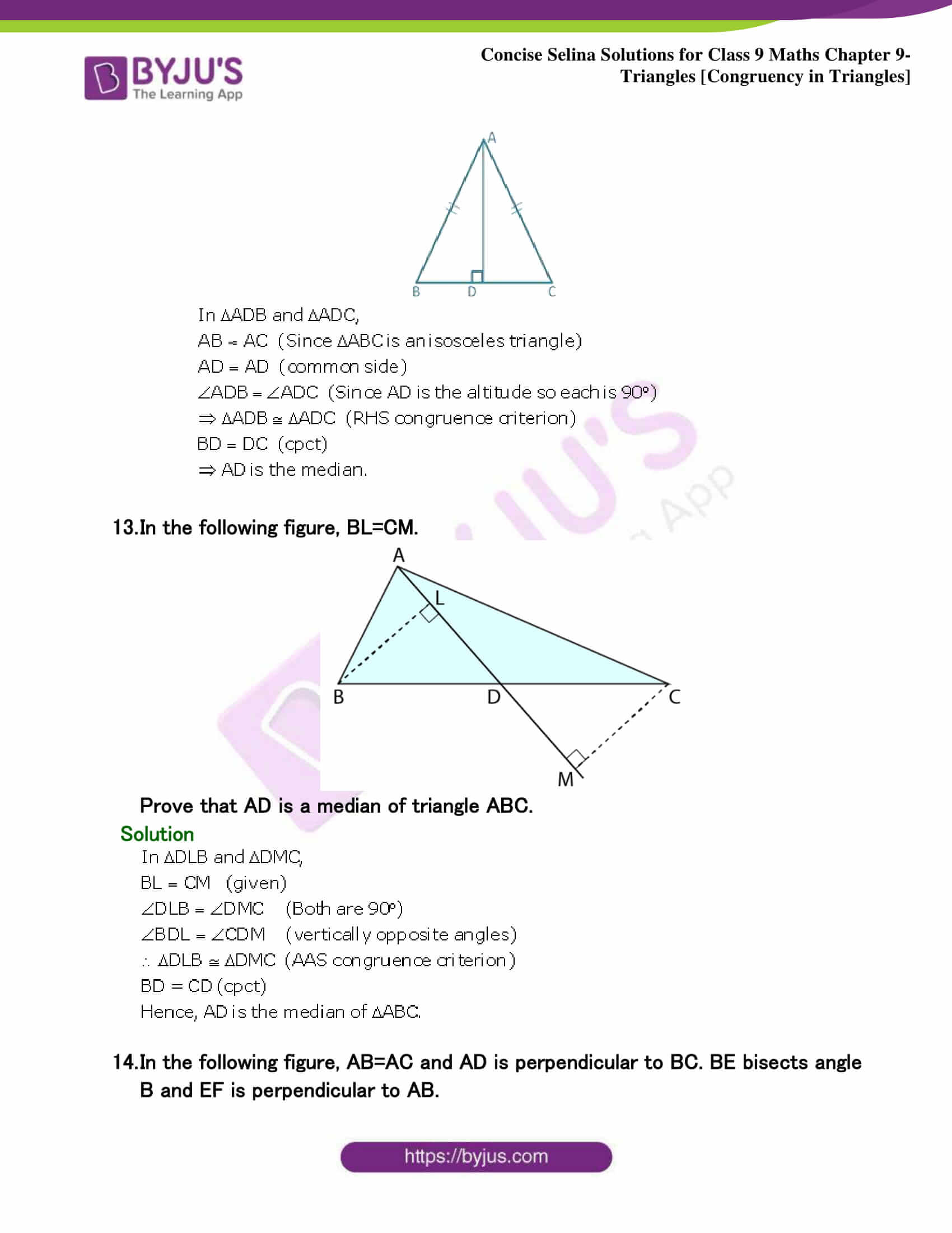 Selina Solutions Class 9 Maths Chapter 9 Triangles part 16