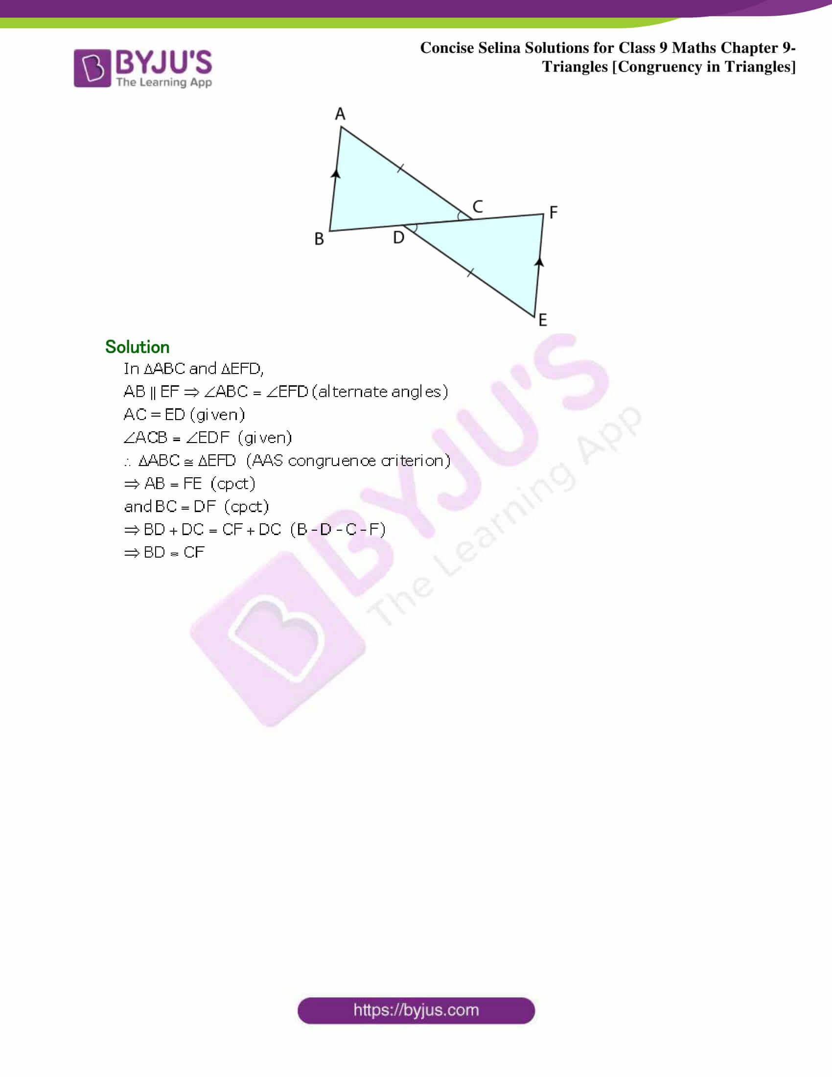 Selina Solutions Class 9 Maths Chapter 9 Triangles part 18