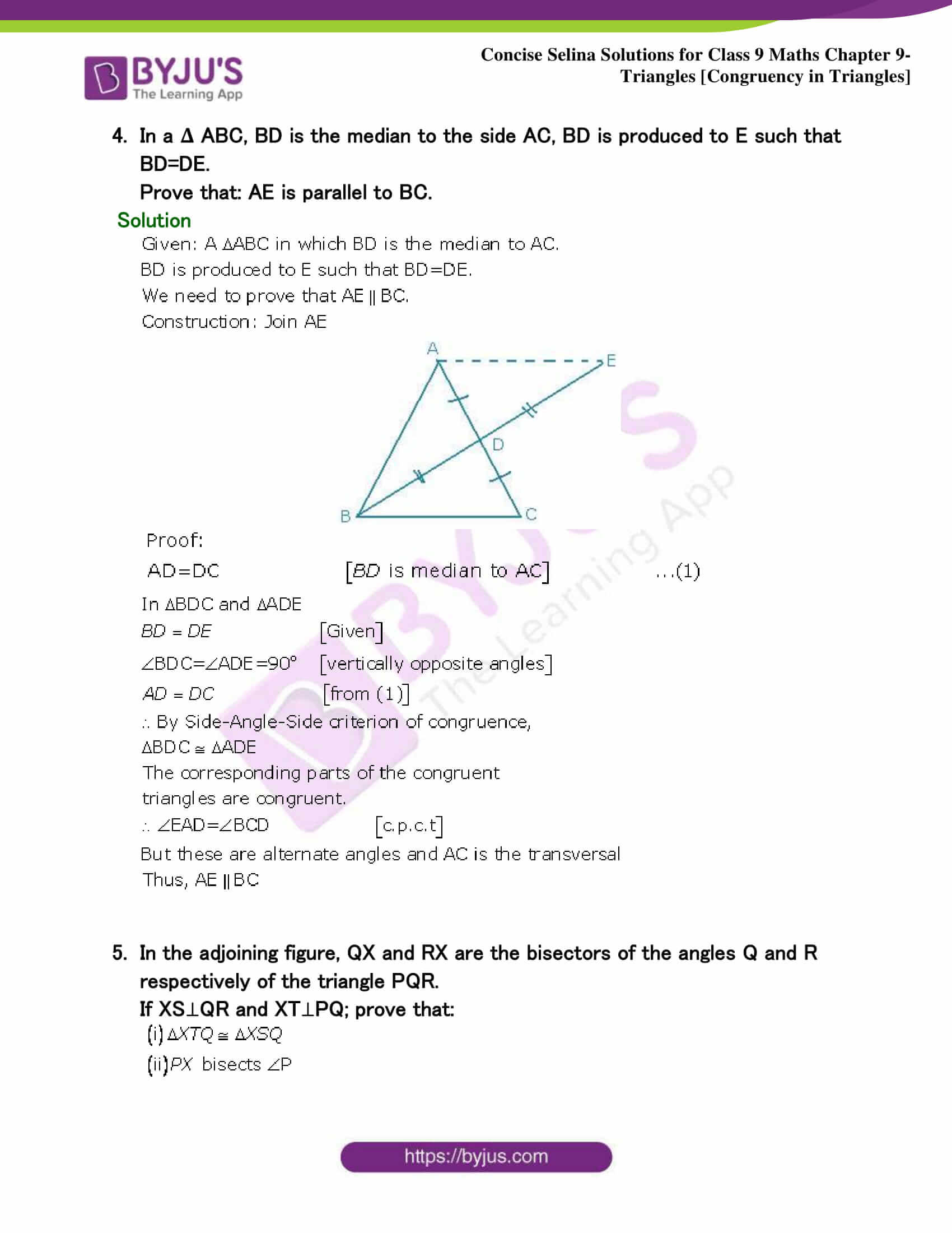 Selina Solutions Class 9 Maths Chapter 9 Triangles part 27