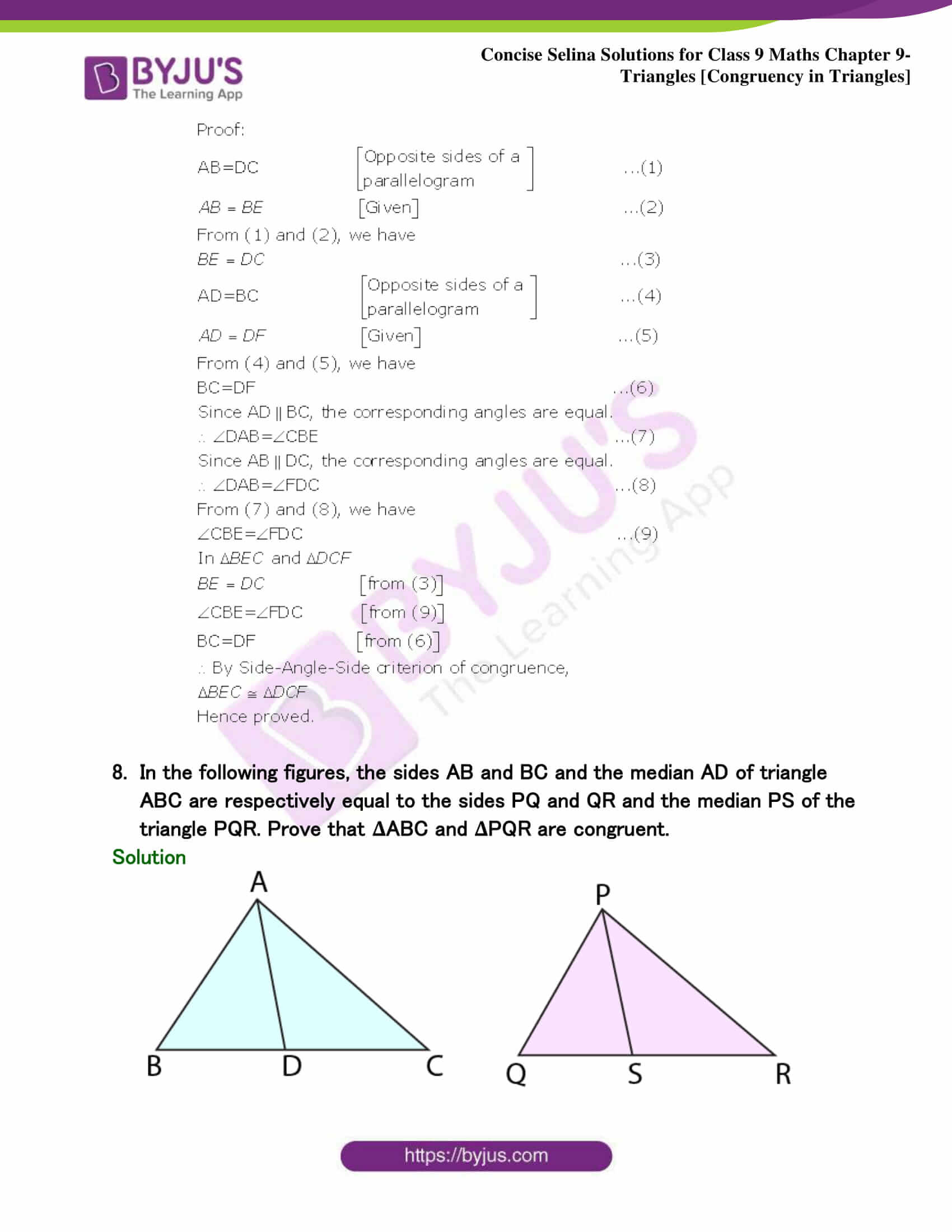 Selina Solutions Class 9 Maths Chapter 9 Triangles part 31