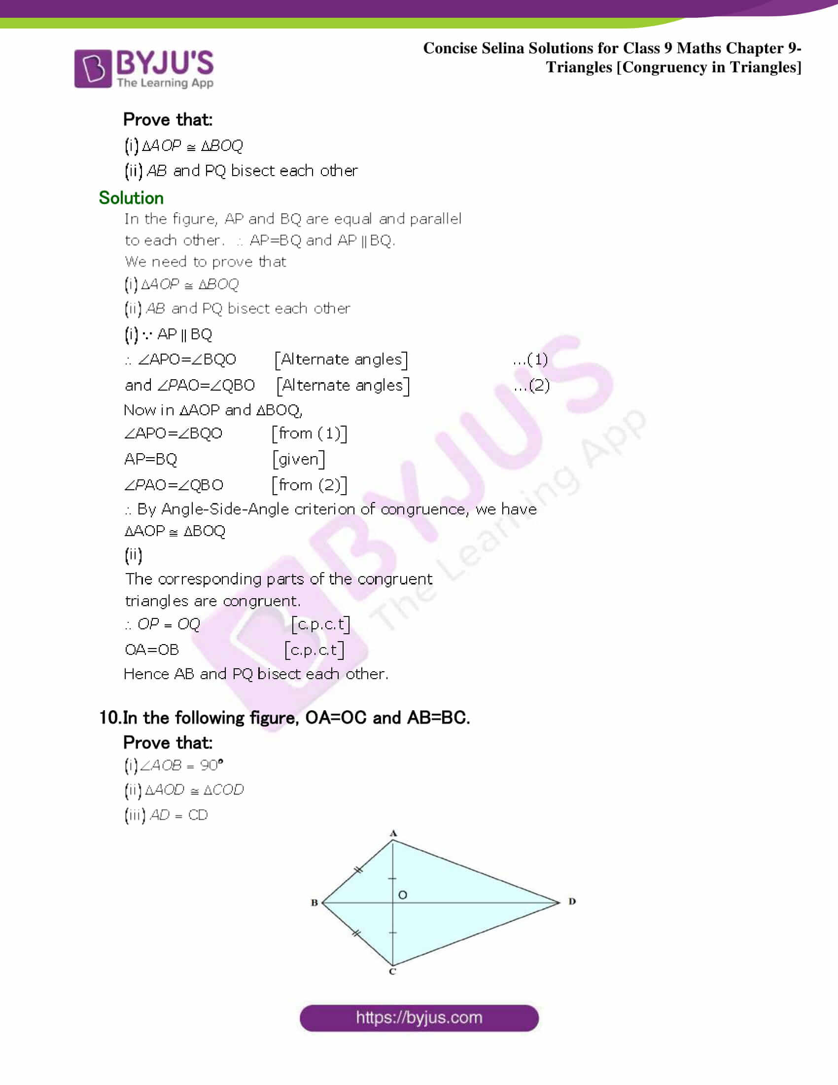 Selina Solutions Class 9 Maths Chapter 9 Triangles part 33