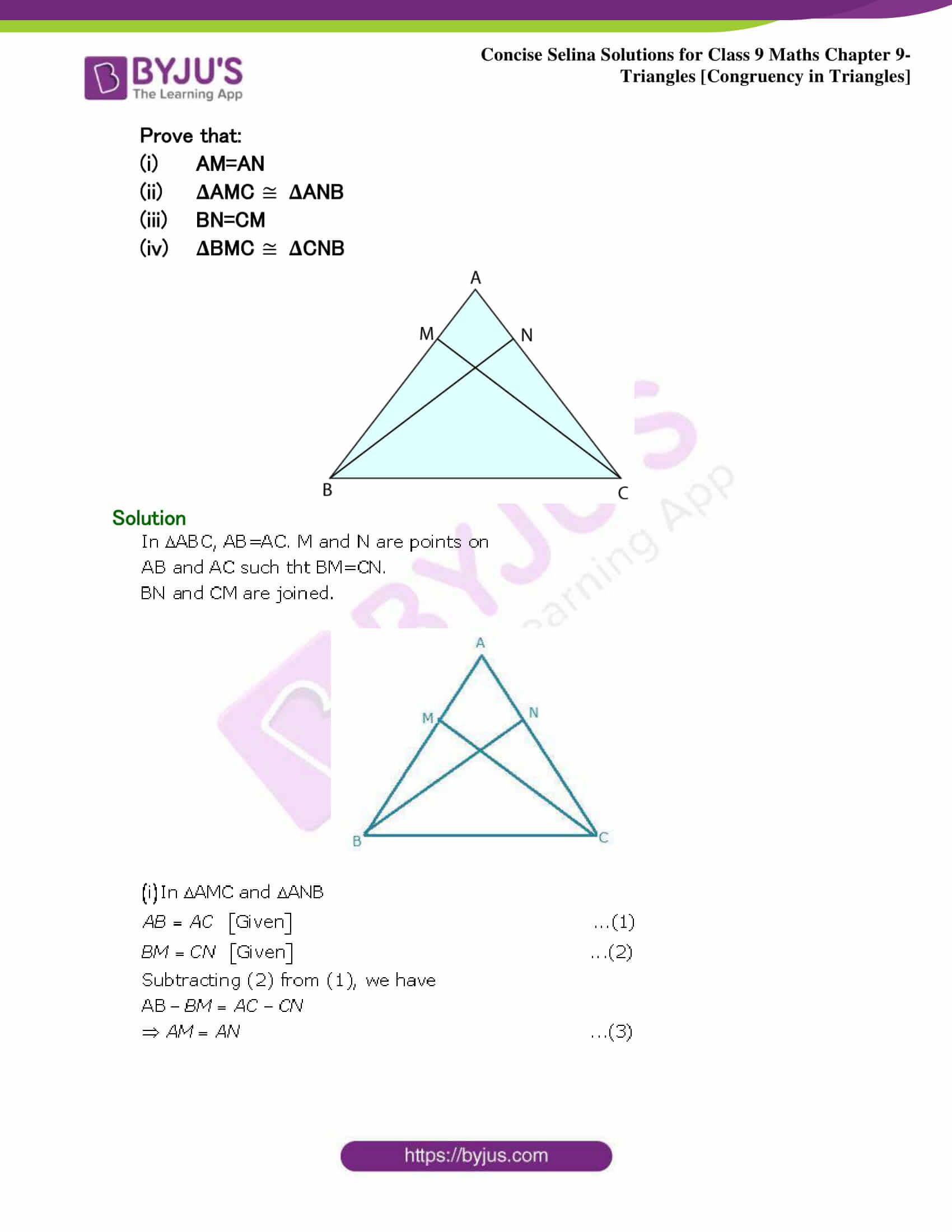 Selina Solutions Class 9 Maths Chapter 9 Triangles part 35