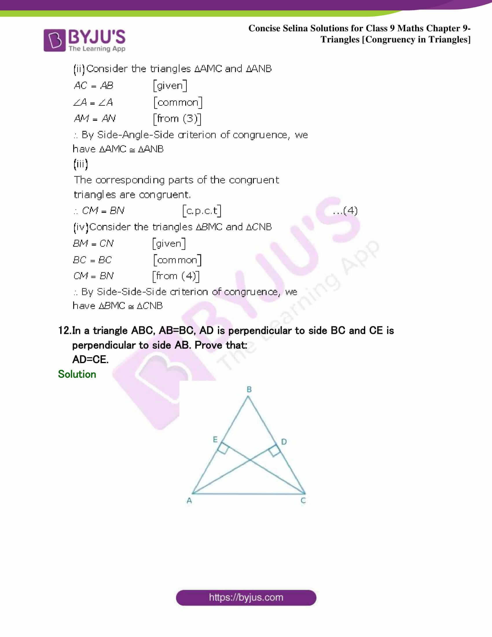 Selina Solutions Class 9 Maths Chapter 9 Triangles part 36
