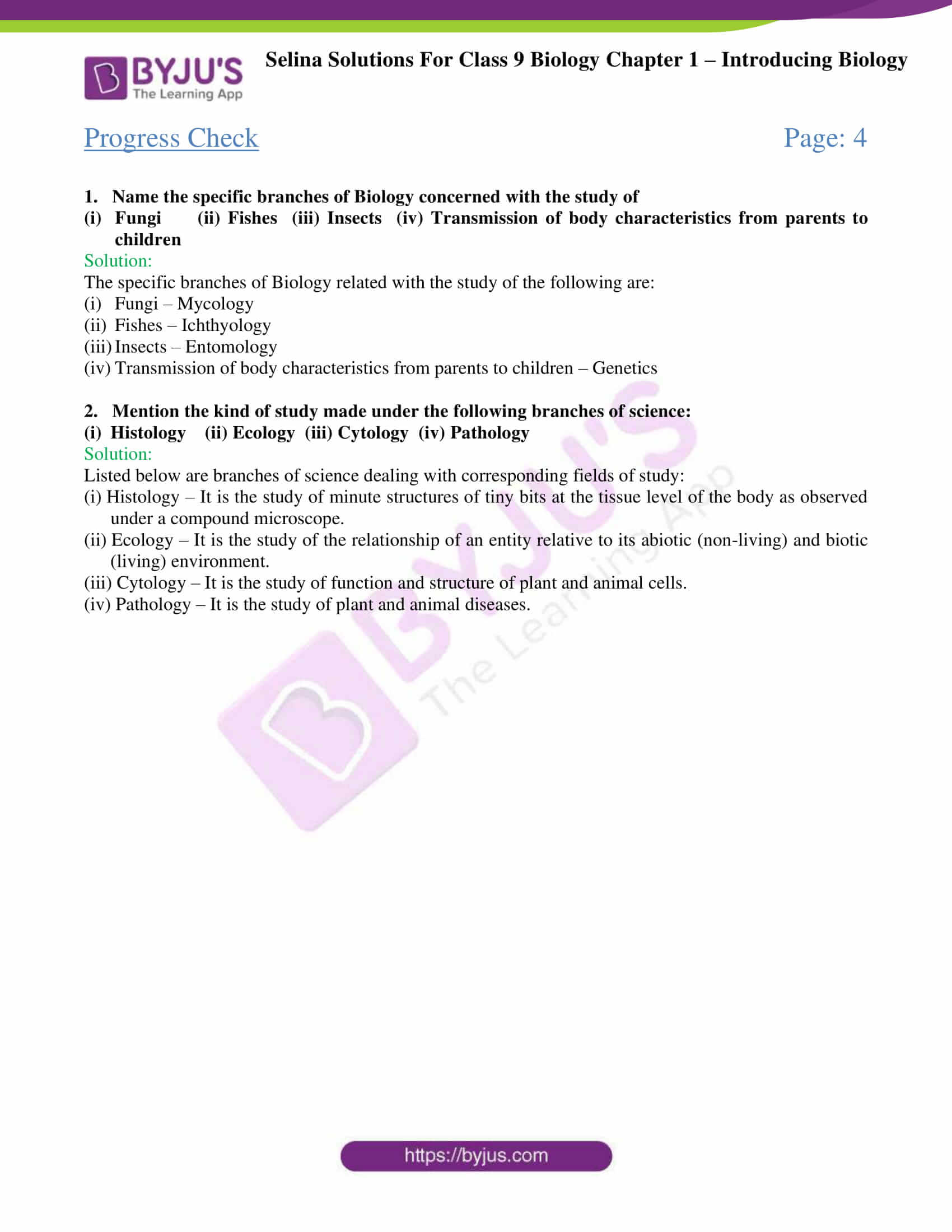 Selina Solutions For Class 9 Biology Chapter 1 Introducing Biology part 1