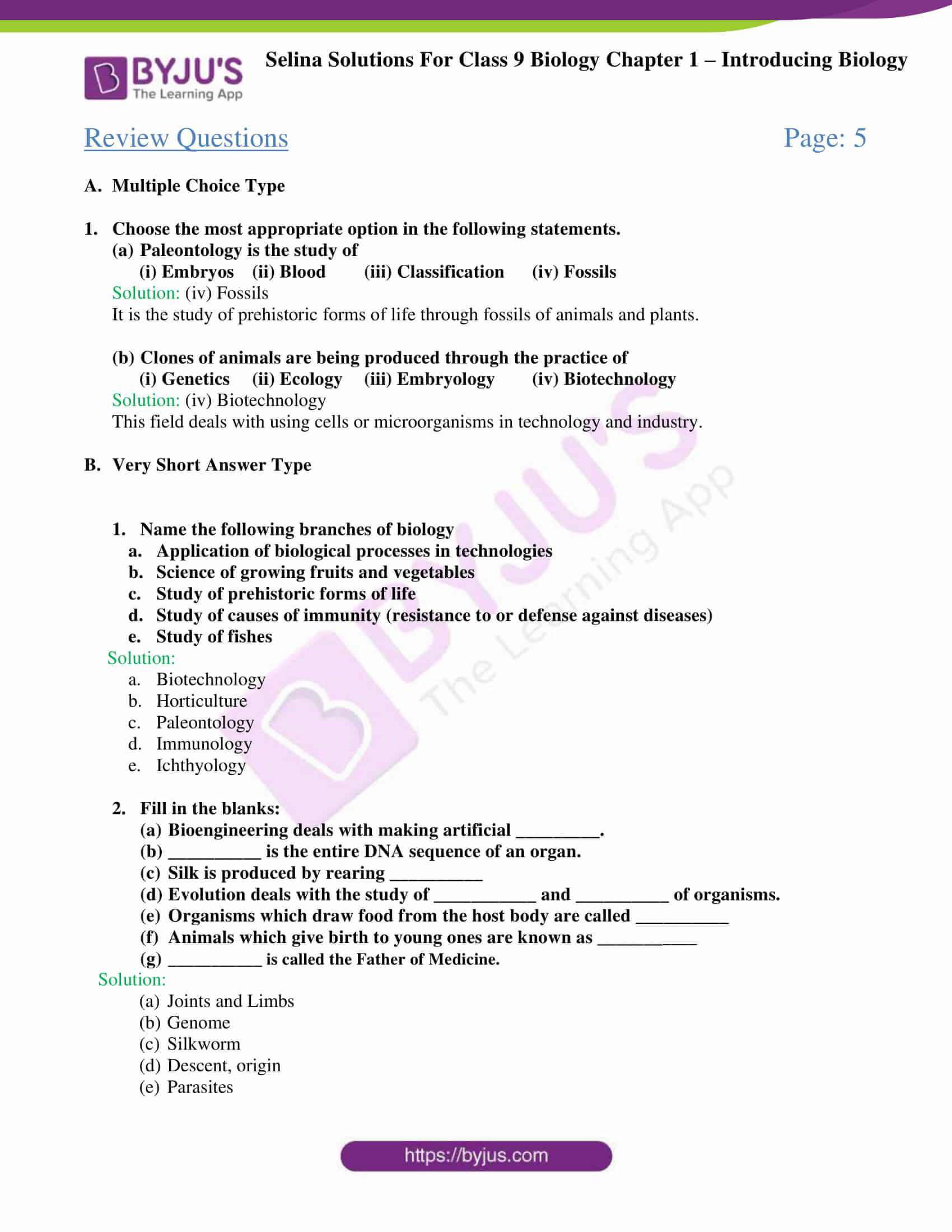 Selina Solutions For Class 9 Biology Chapter 1 Introducing Biology part 2