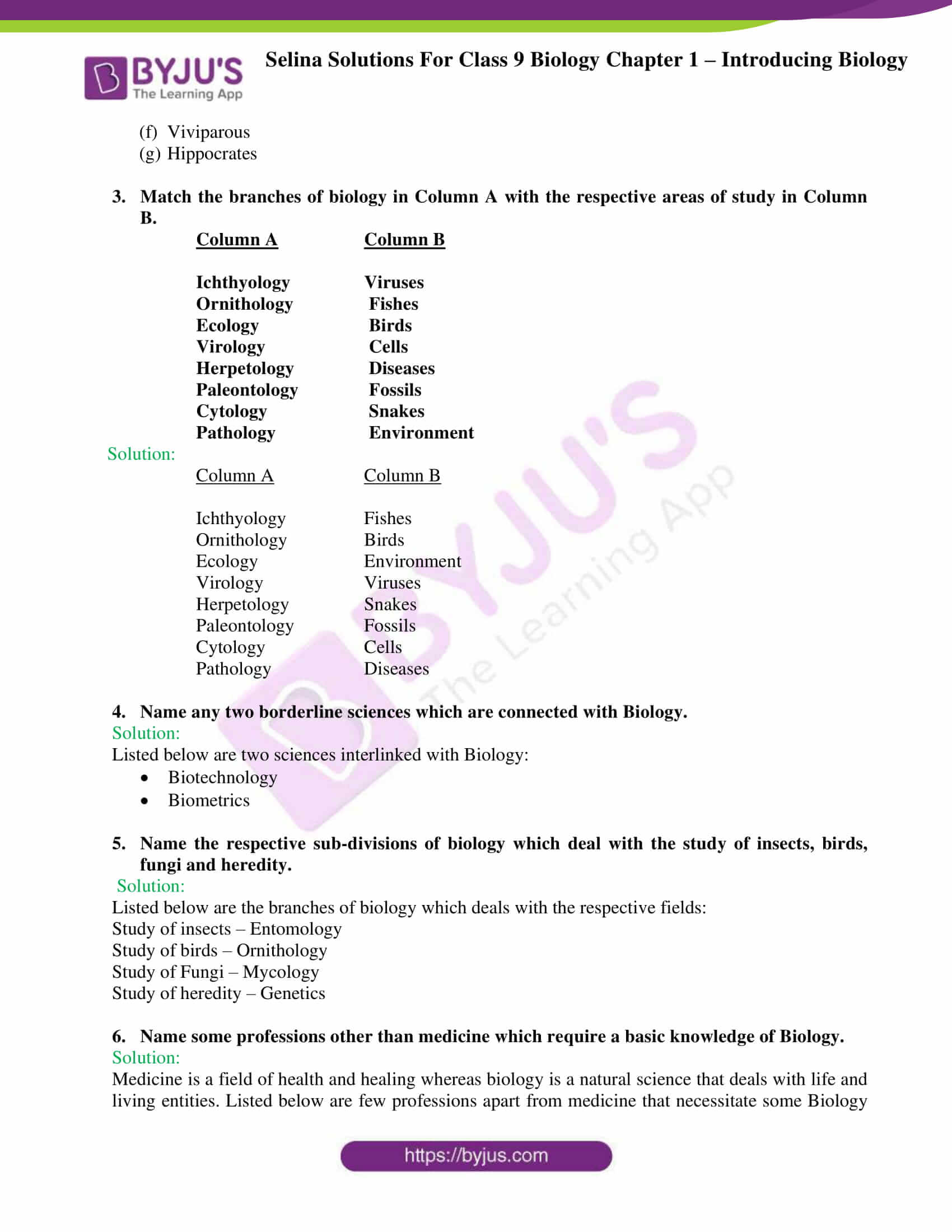 Selina Solutions For Class 9 Biology Chapter 1 Introducing Biology part 3